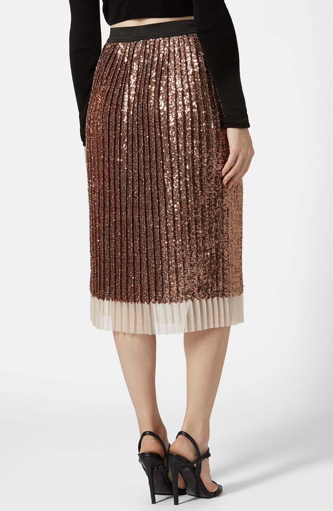 Sequin Pleated Midi Skirt,                             Alternate thumbnail 4, color,                             220