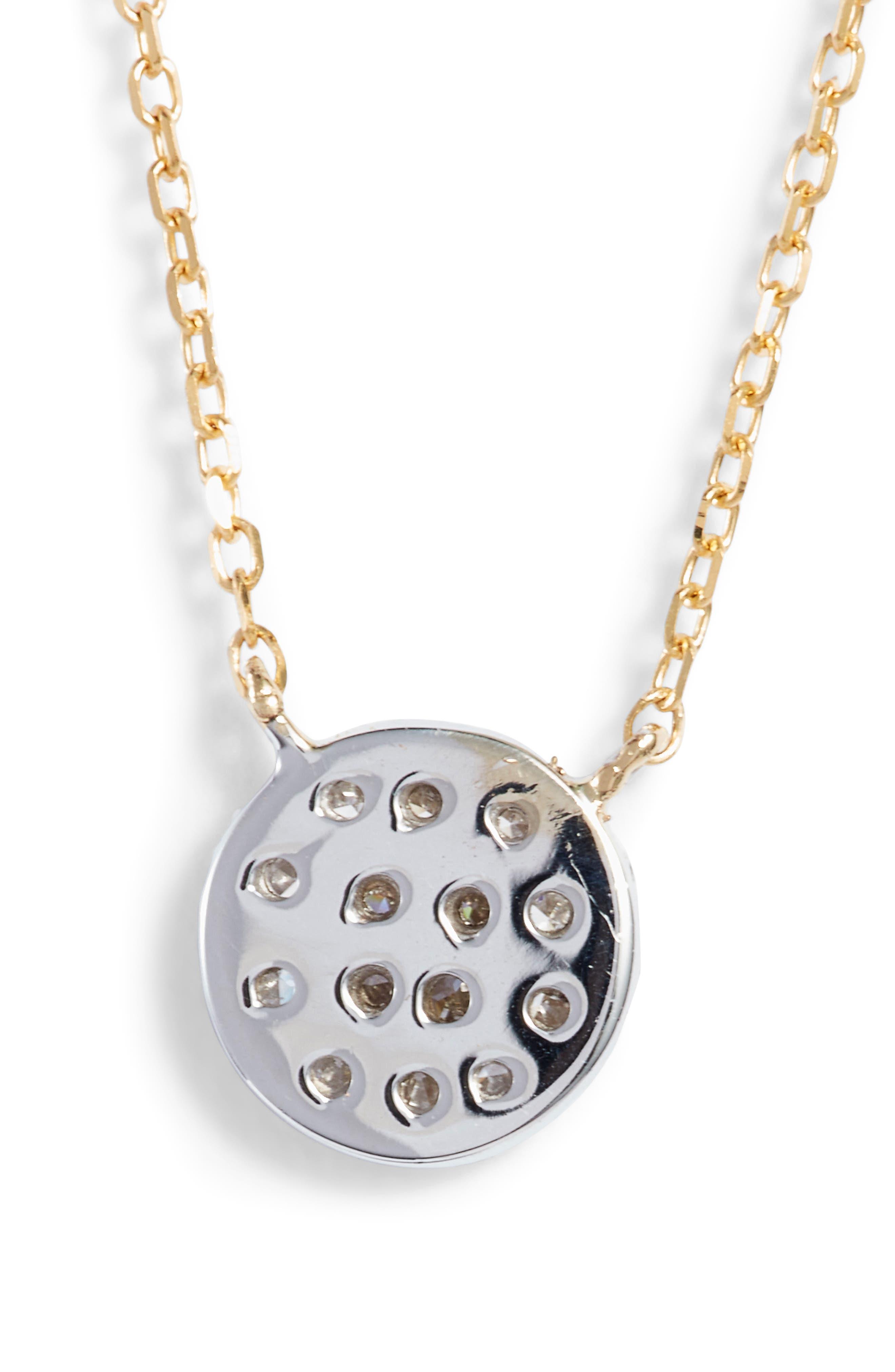 'Lauren Joy' Diamond Disc Pendant Necklace,                             Alternate thumbnail 5, color,                             YELLOW GOLD