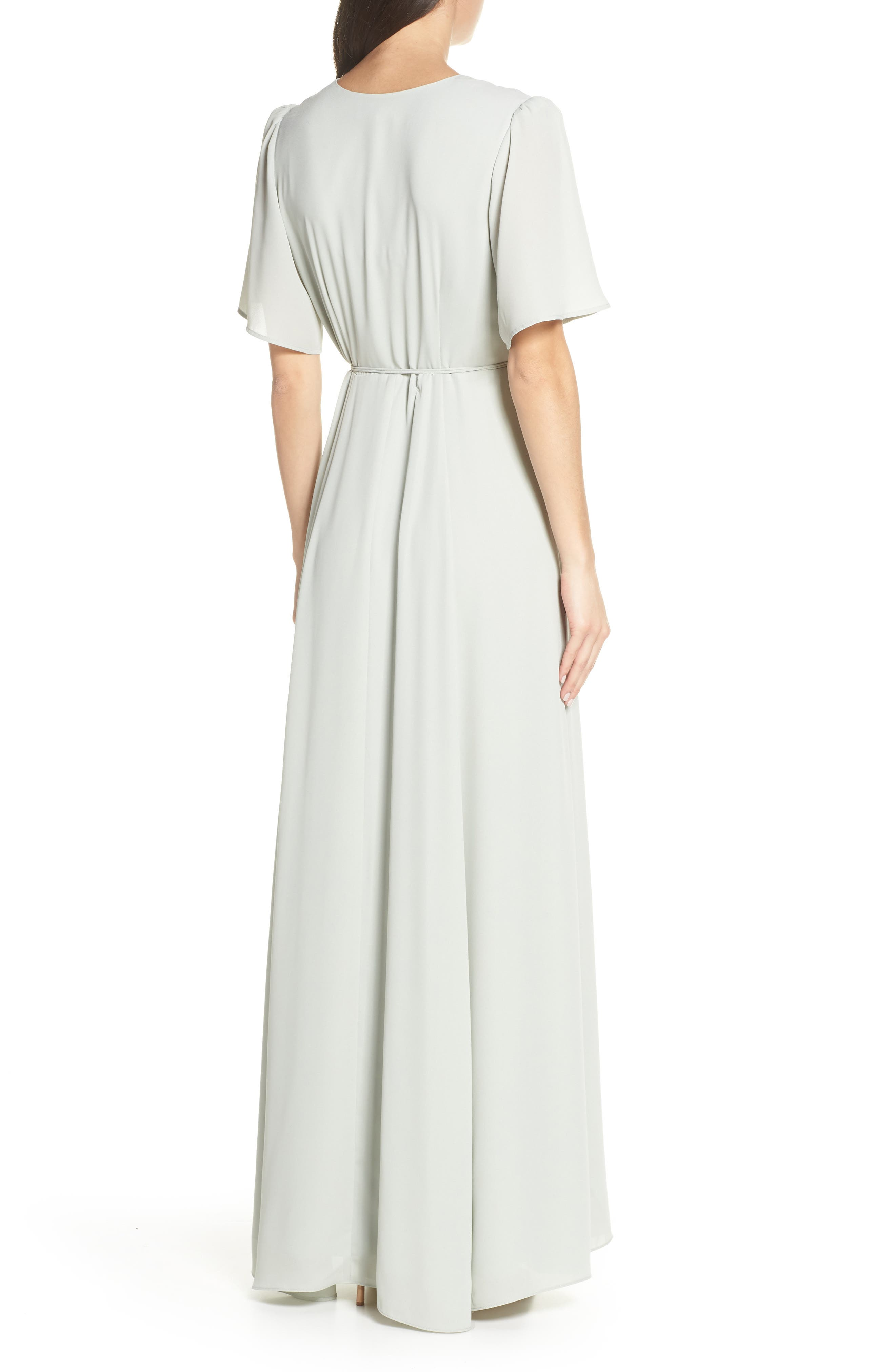 WAYF,                             The Aurelia Short Sleeve Wrap Evening Dress,                             Alternate thumbnail 2, color,                             SAGE