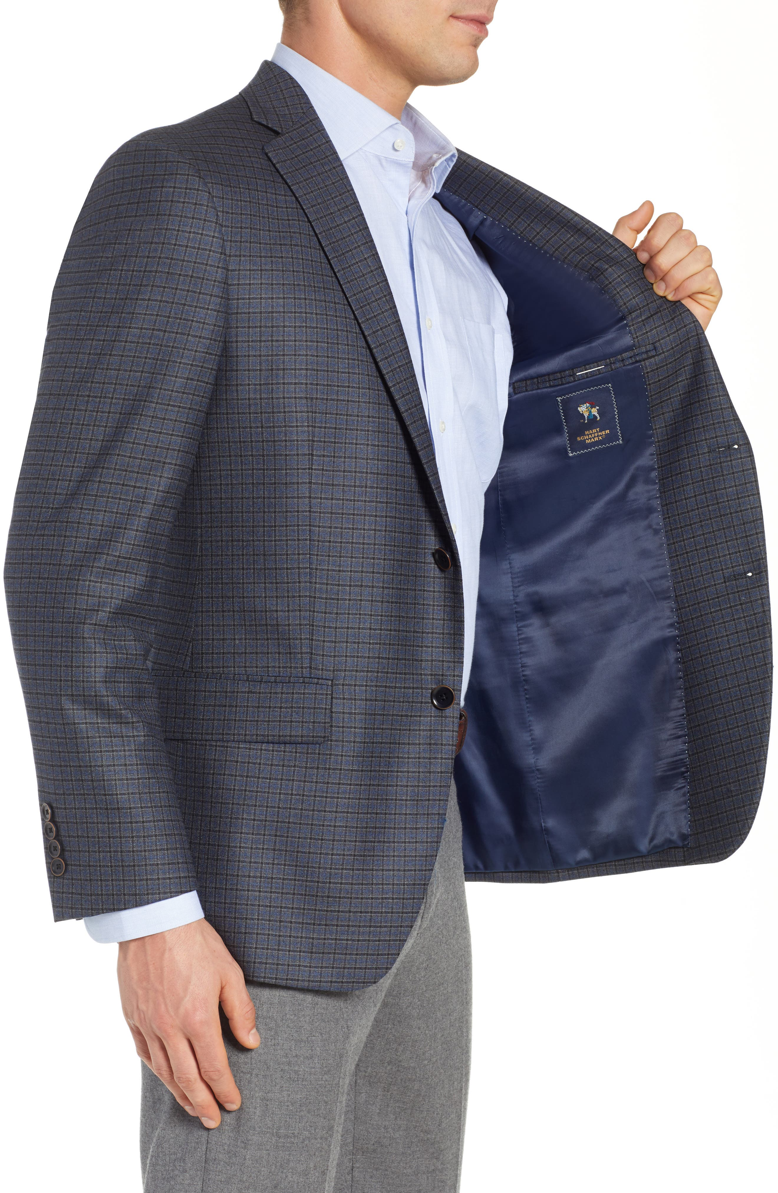 HART SCHAFFNER MARX,                             Classic Fit Stretch Check Wool Sport Coat,                             Alternate thumbnail 4, color,                             420