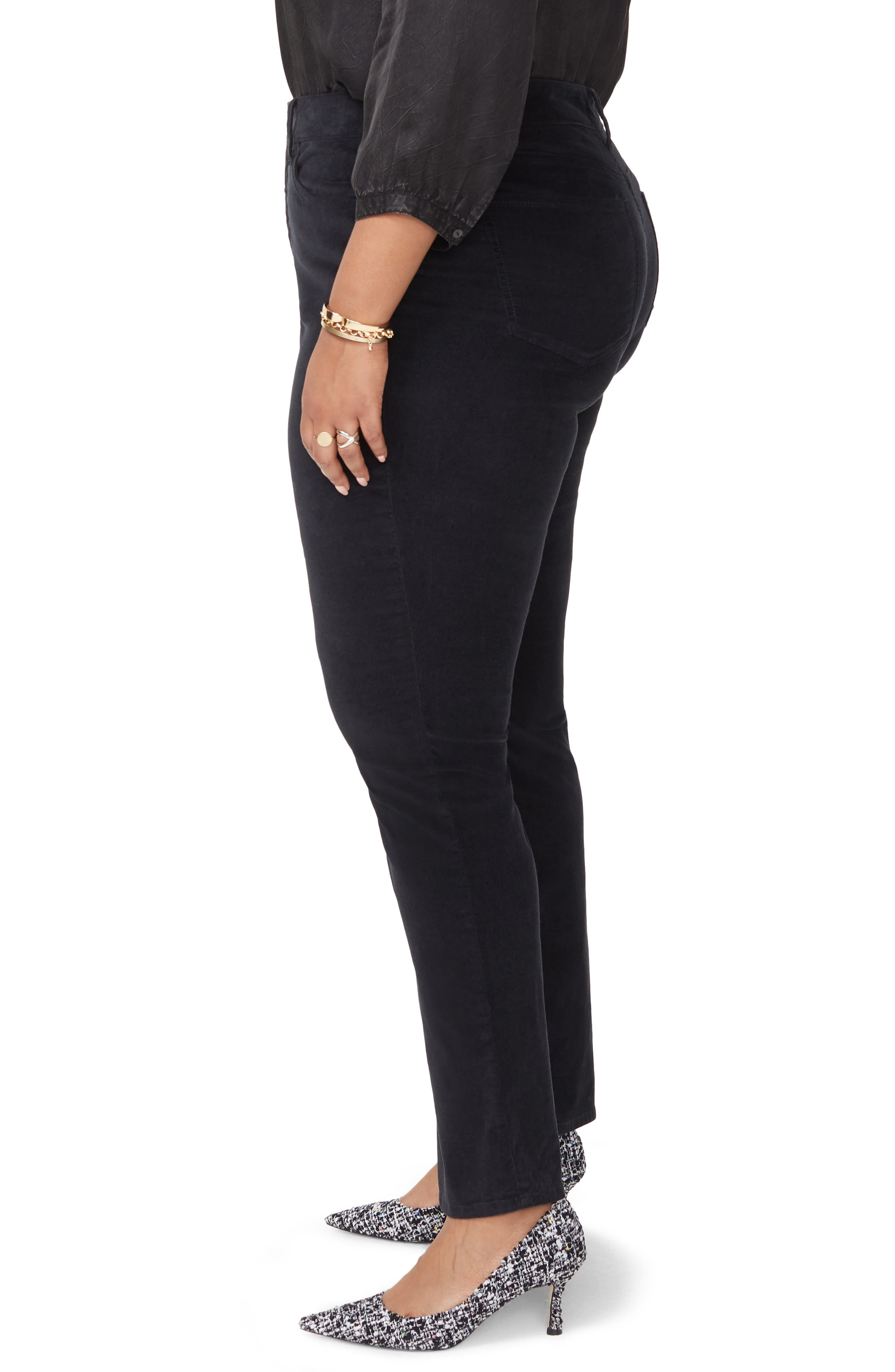 Marilyn Straight Leg Stretch Velvet Pants,                             Alternate thumbnail 3, color,                             BLACK