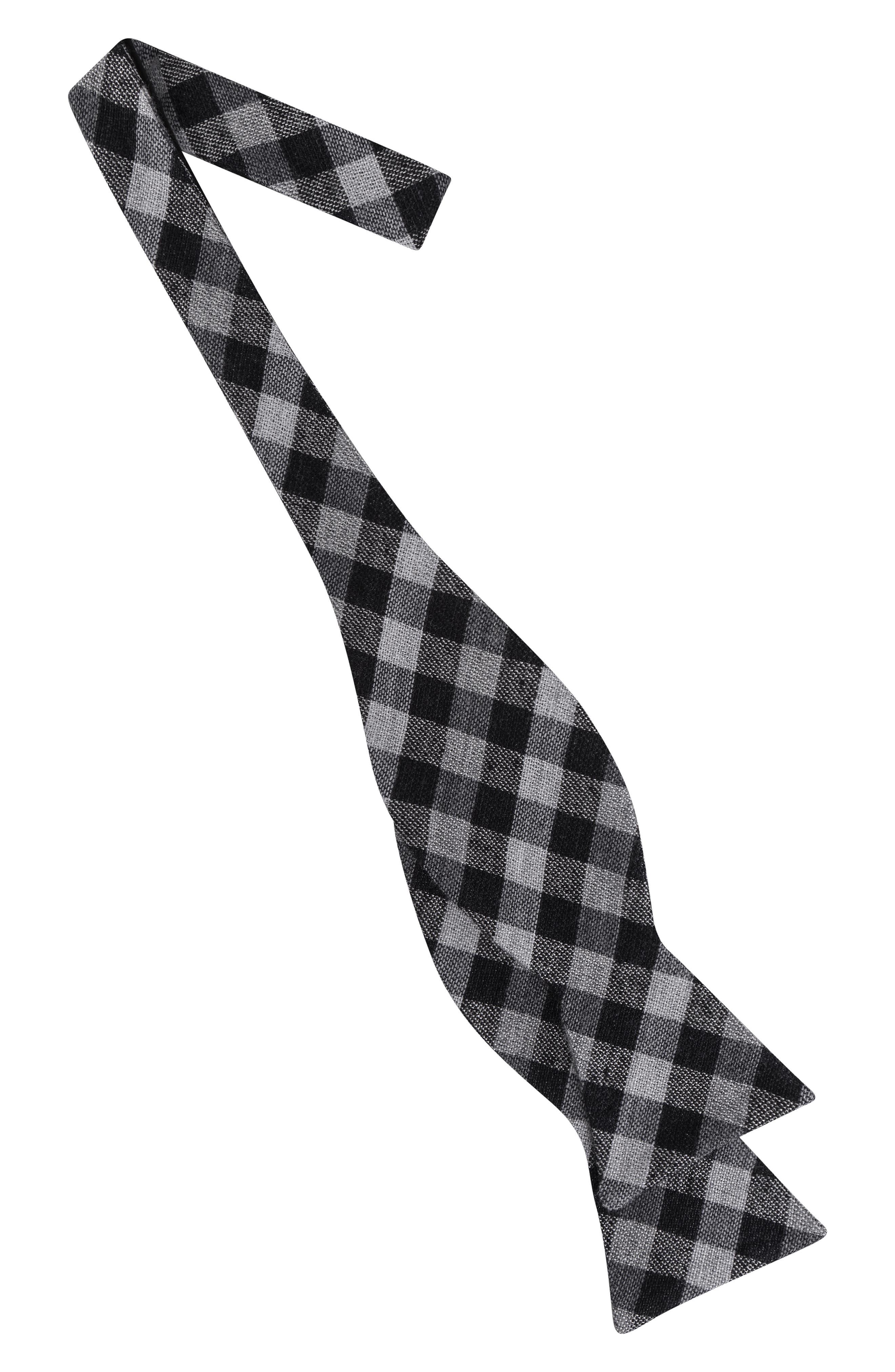 Gingham Silk Blend Bow Tie,                             Alternate thumbnail 2, color,                             001