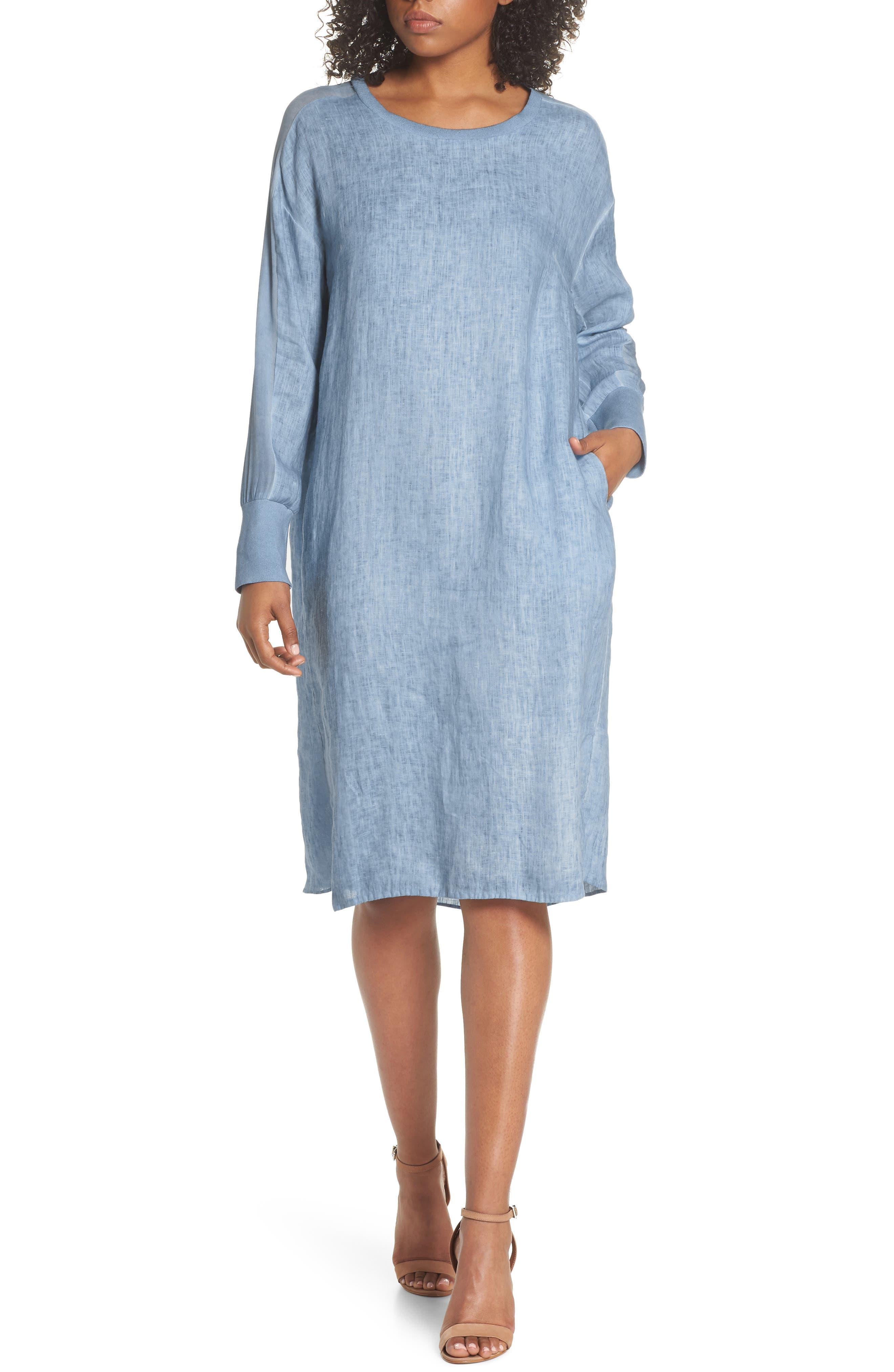 Rata Linen Shift Dress,                             Main thumbnail 1, color,                             400