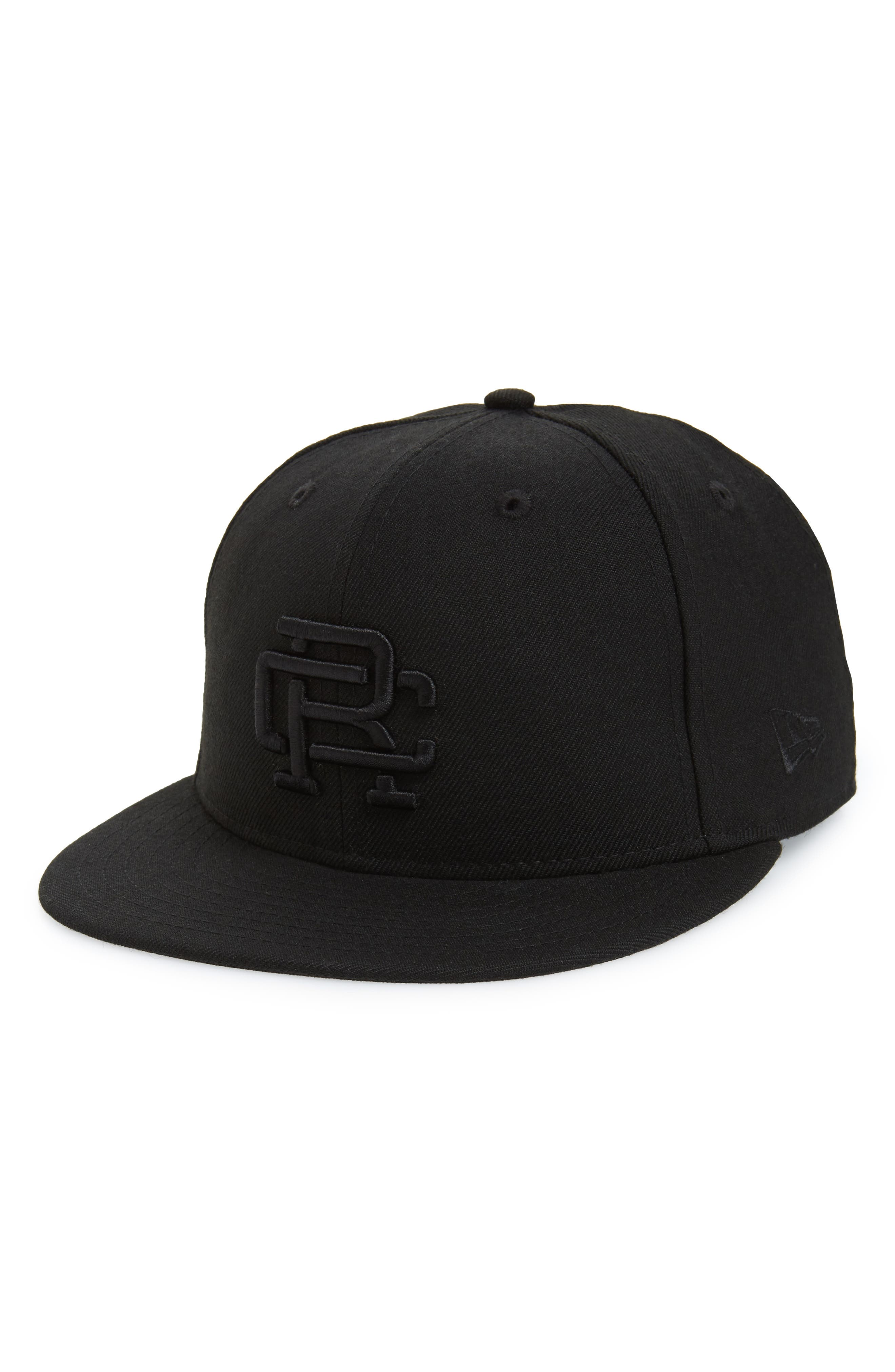 New Era Fitted Baseball Cap,                         Main,                         color, BLACK / BLACK
