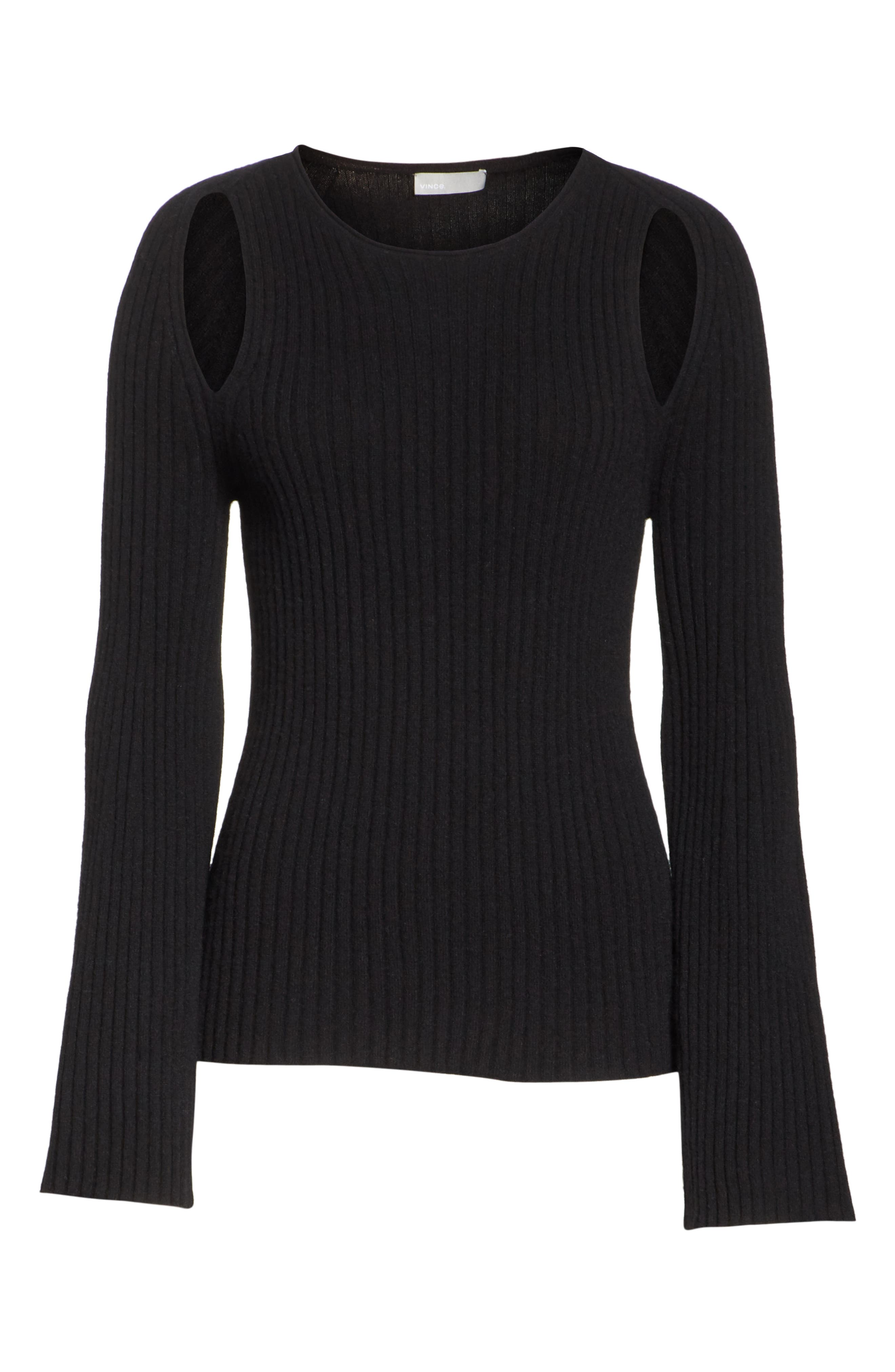 Shoulder Slit Cashmere Crewneck Sweater,                             Alternate thumbnail 6, color,                             BLACK