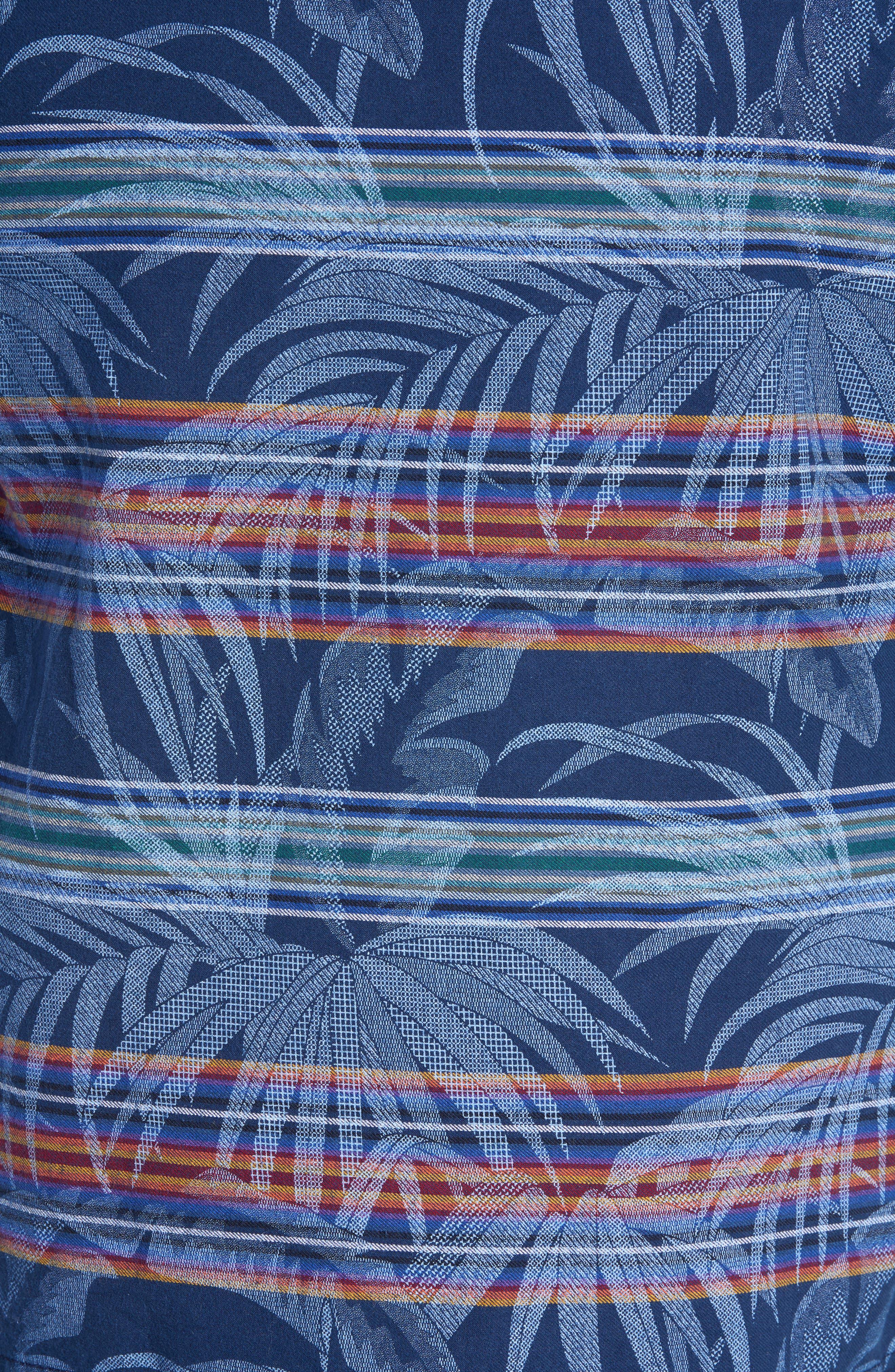 Island Serape Stripe Pullover Hoodie,                             Alternate thumbnail 5, color,                             OCEAN DEEP