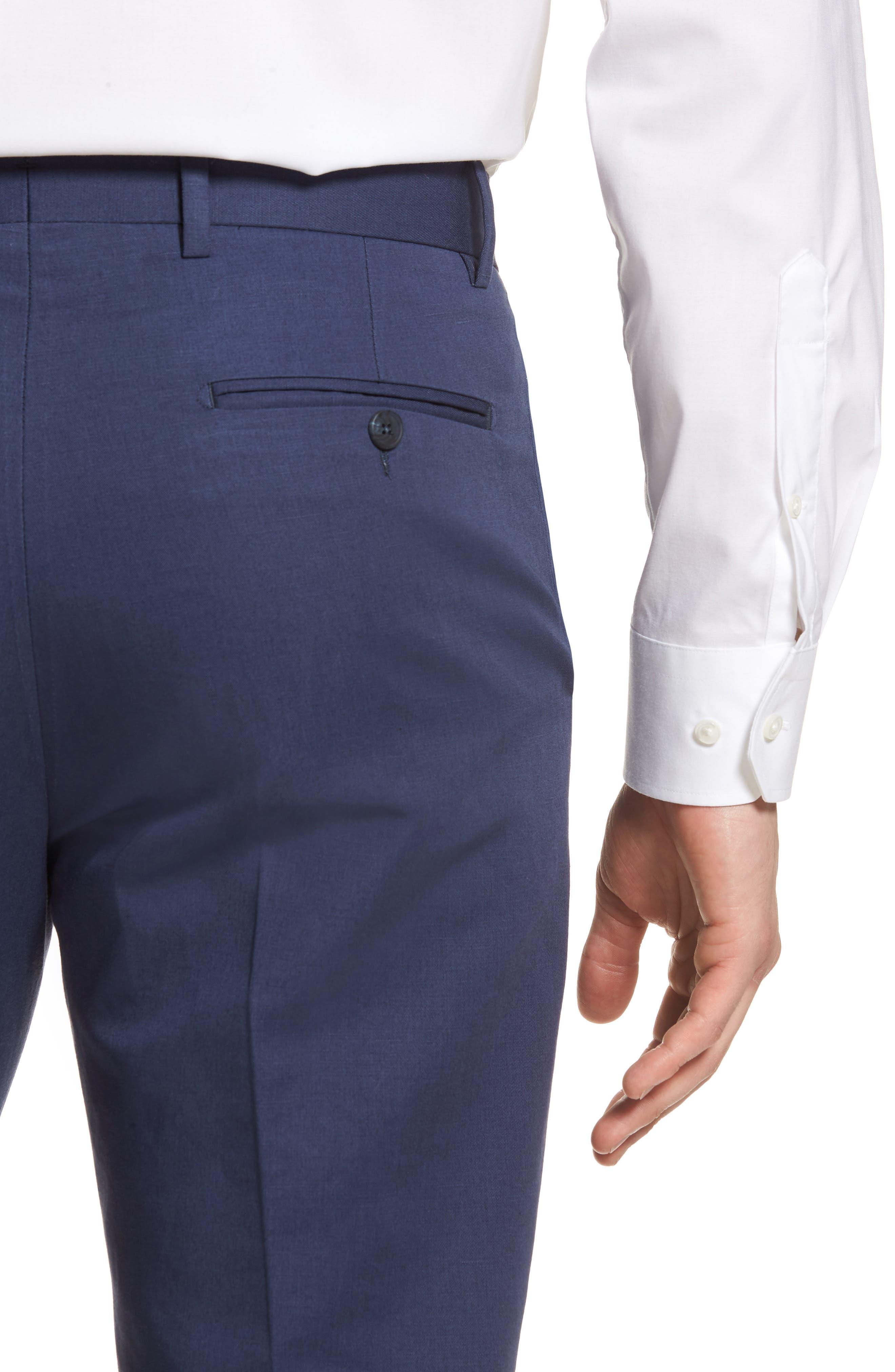 Flat Front Solid Cotton & Linen Trousers,                             Alternate thumbnail 20, color,