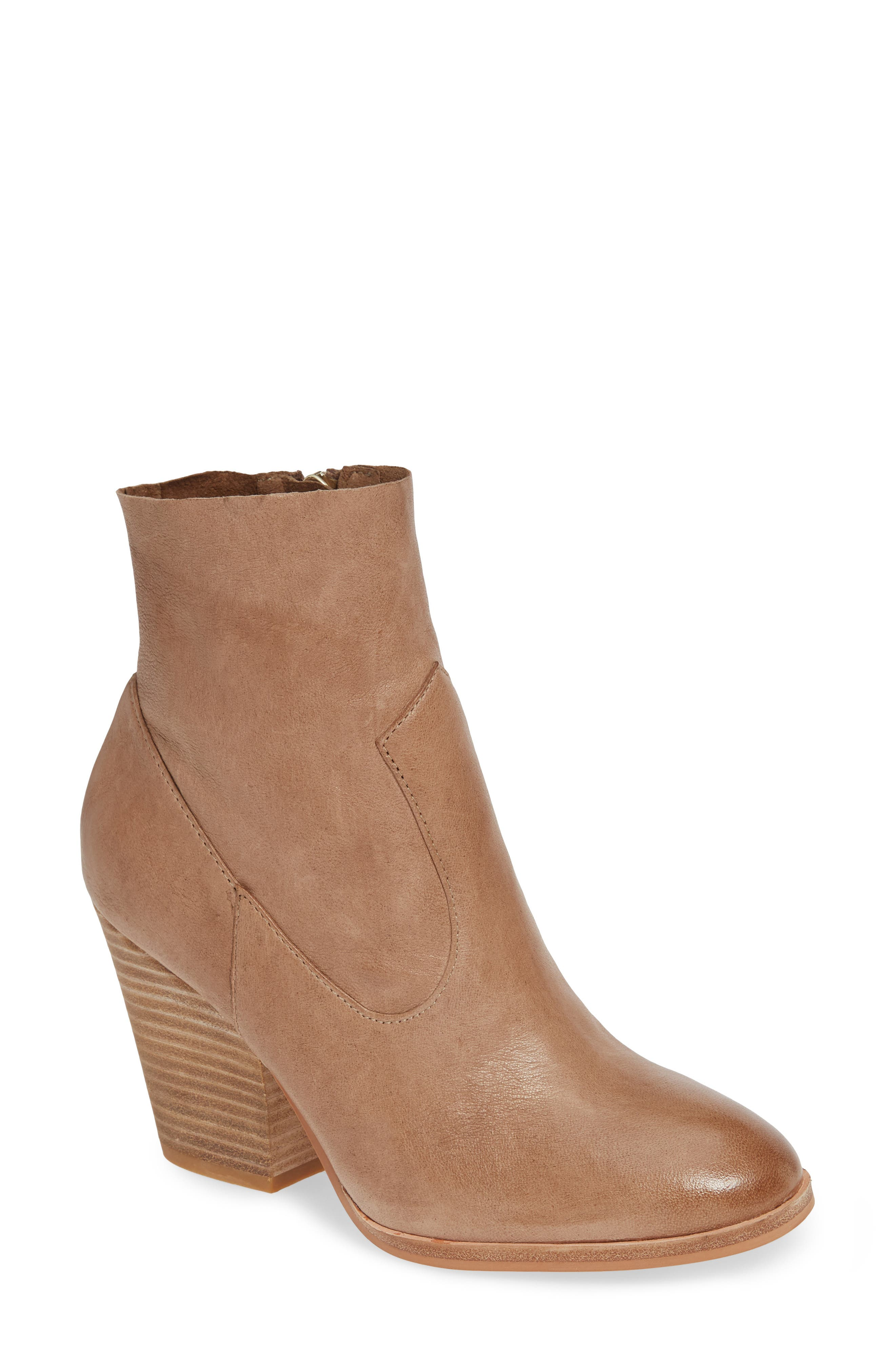 Isola Lani Block Heel Bootie,                             Main thumbnail 1, color,                             LIGHT TAUPE LEATHER