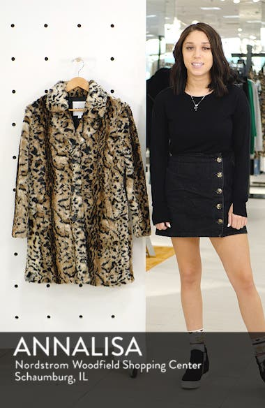 Bradshaw Leopard Spot Faux Fur Coat, sales video thumbnail
