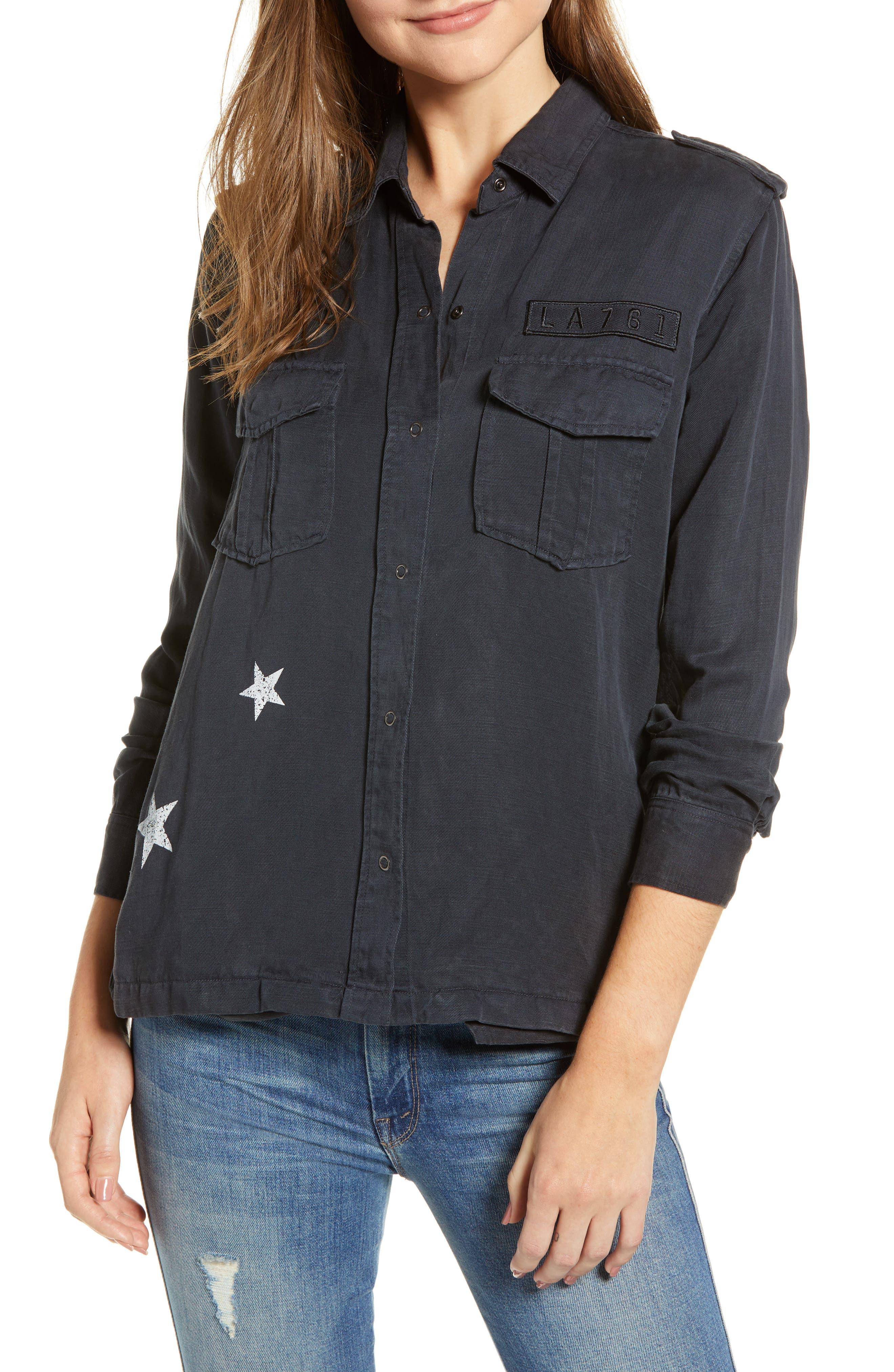 RAILS Kato Military Shirt Jacket in Charcoal