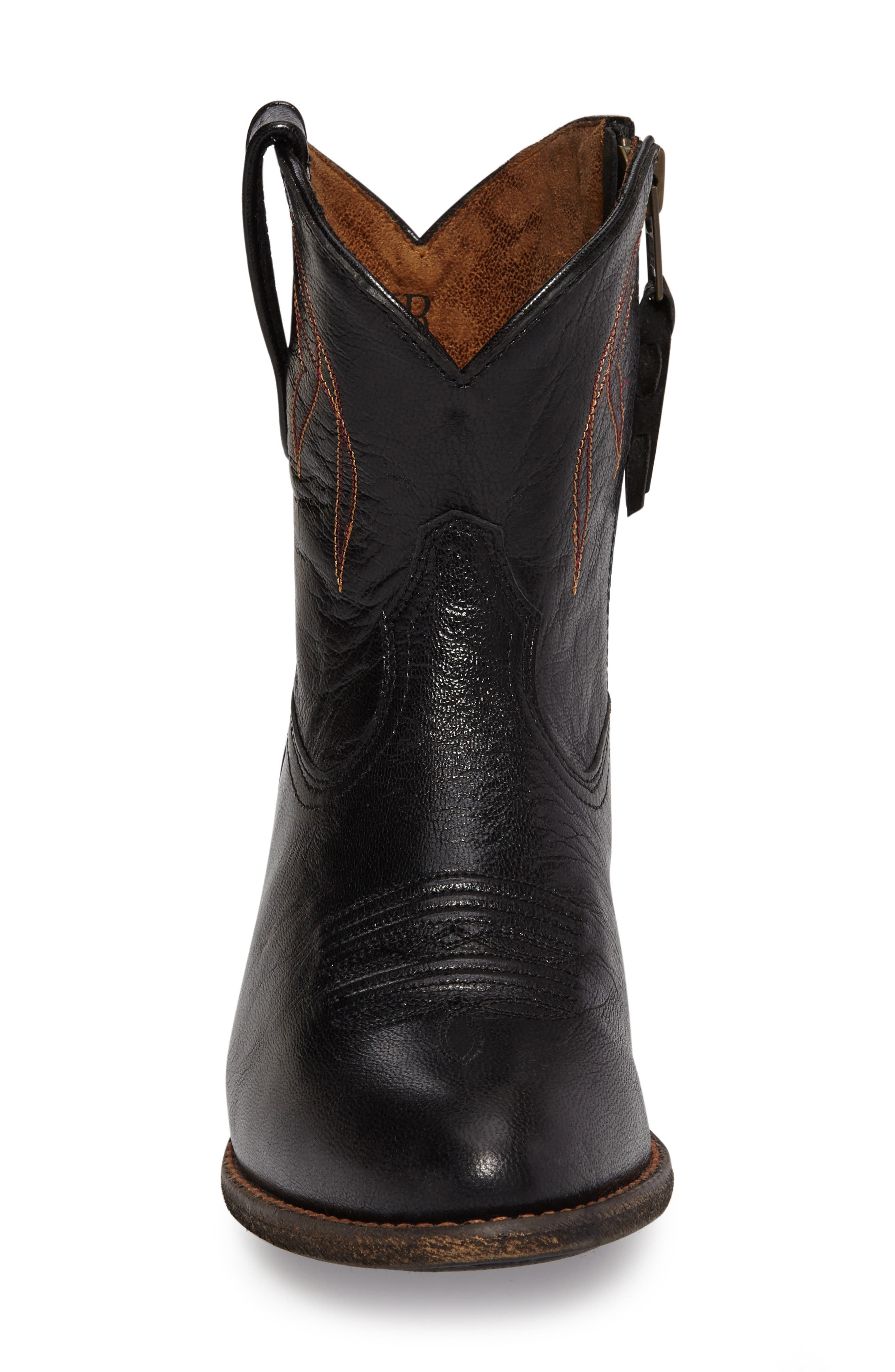 Darlin Short Western Boot,                             Alternate thumbnail 3, color,                             OLD BLACK LEATHER