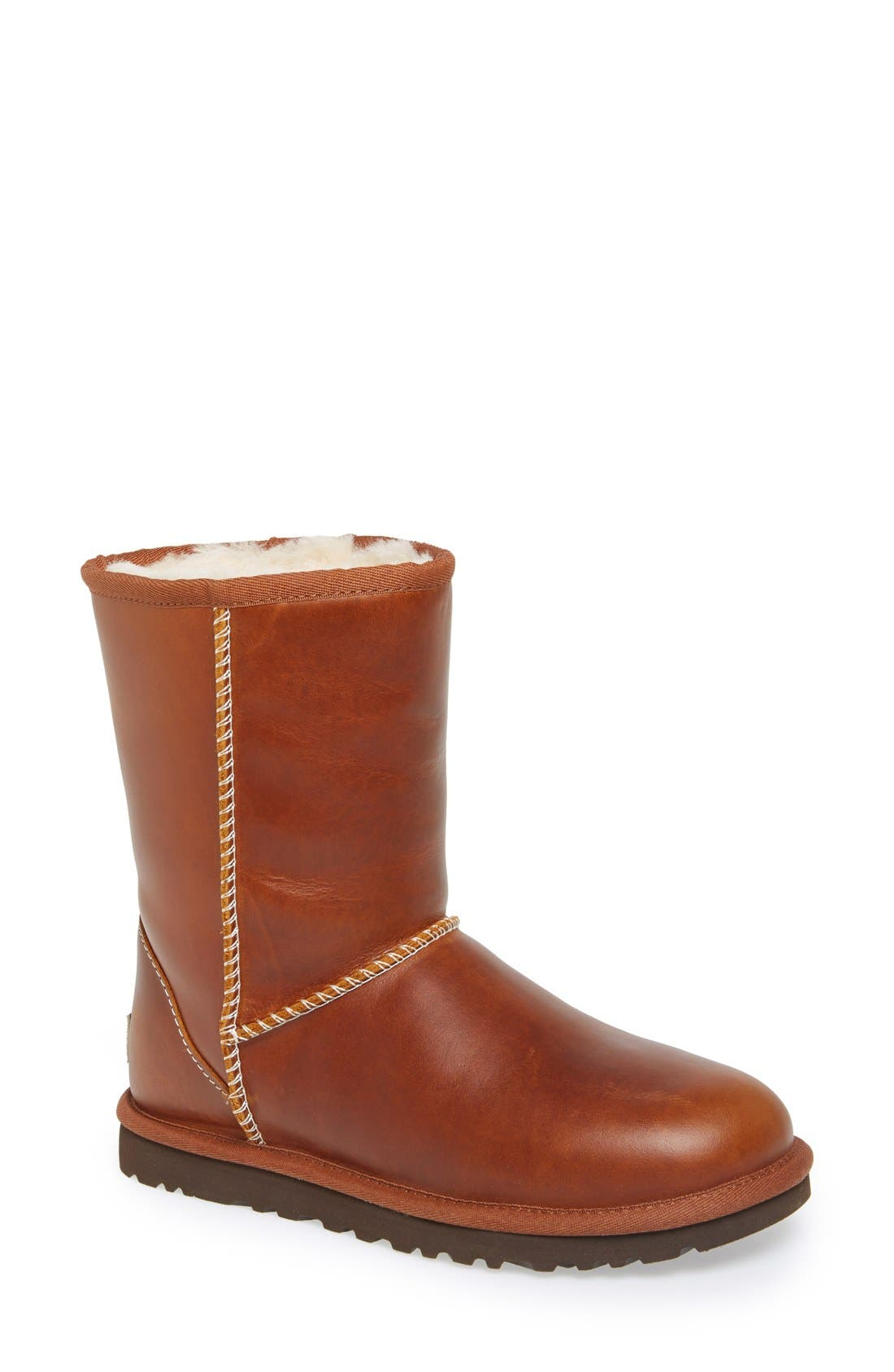 UGG<SUP>®</SUP>,                             Australia 'Classic Short' Leather Water Resistant Boot,                             Main thumbnail 1, color,                             219