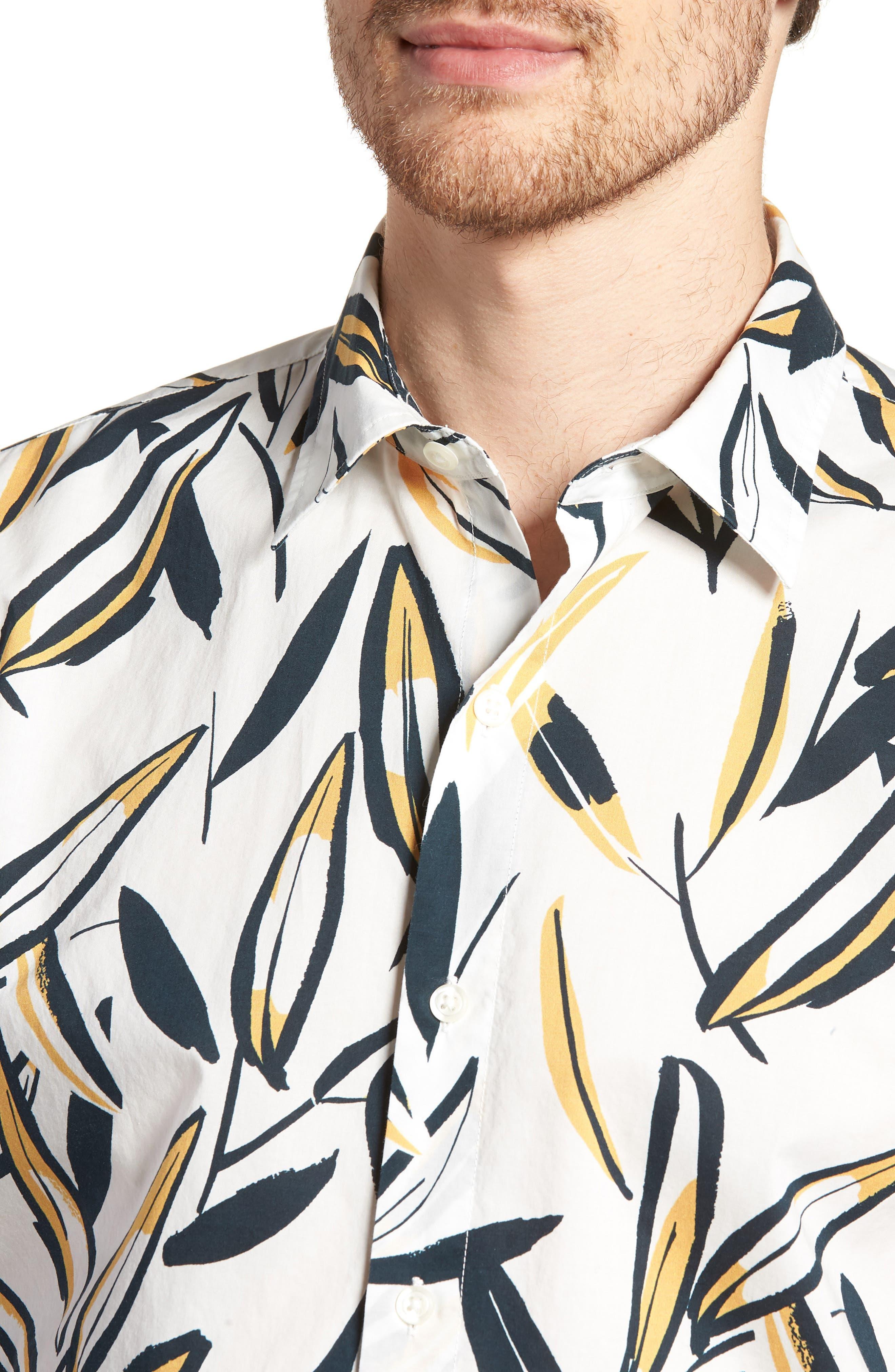 Riviera Slim Fit Leafy Print Sport Shirt,                             Alternate thumbnail 4, color,                             100