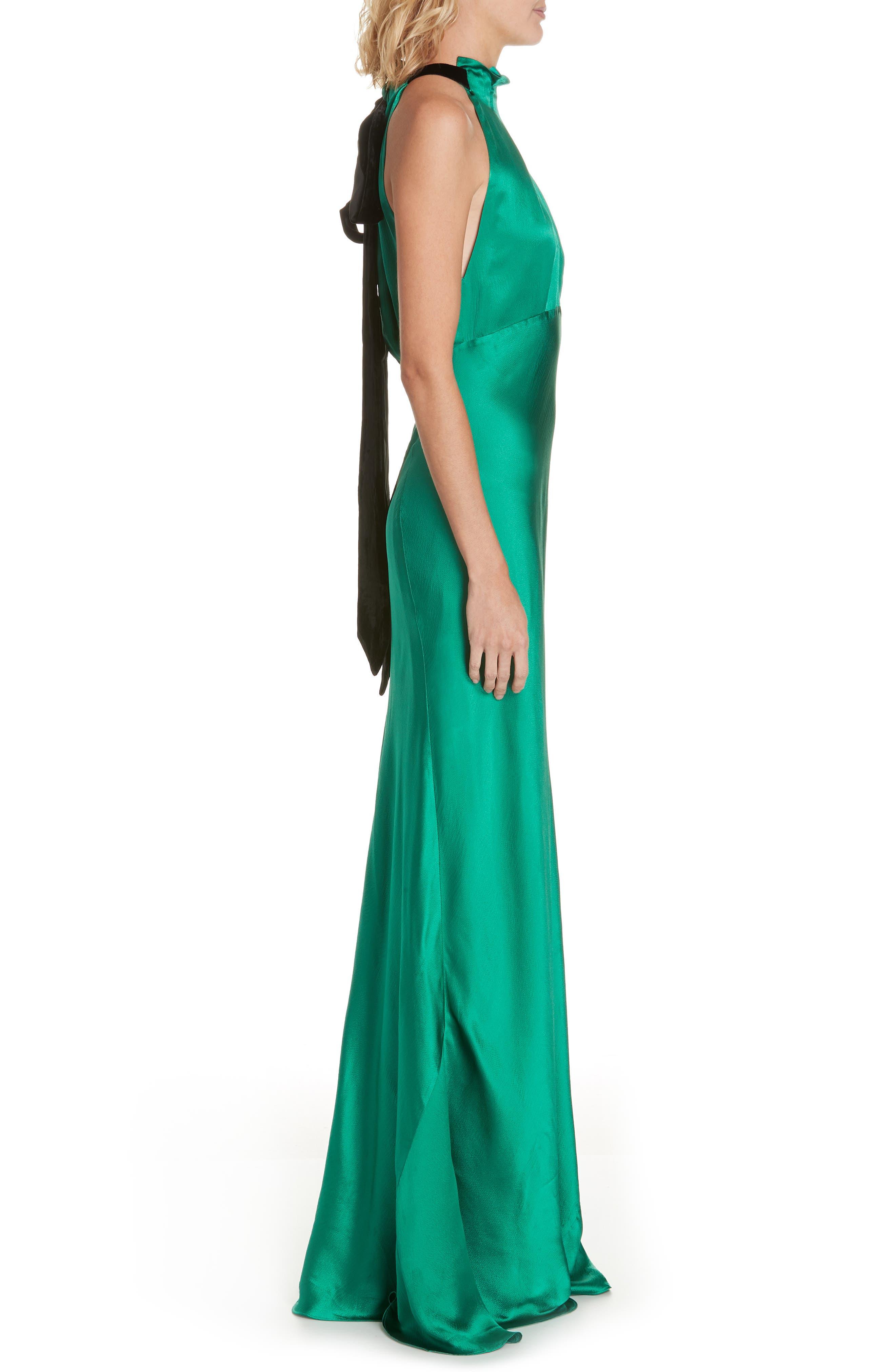 Michelle Velvet Bow Silk Halter Gown,                             Alternate thumbnail 3, color,                             EMERALD GREEN