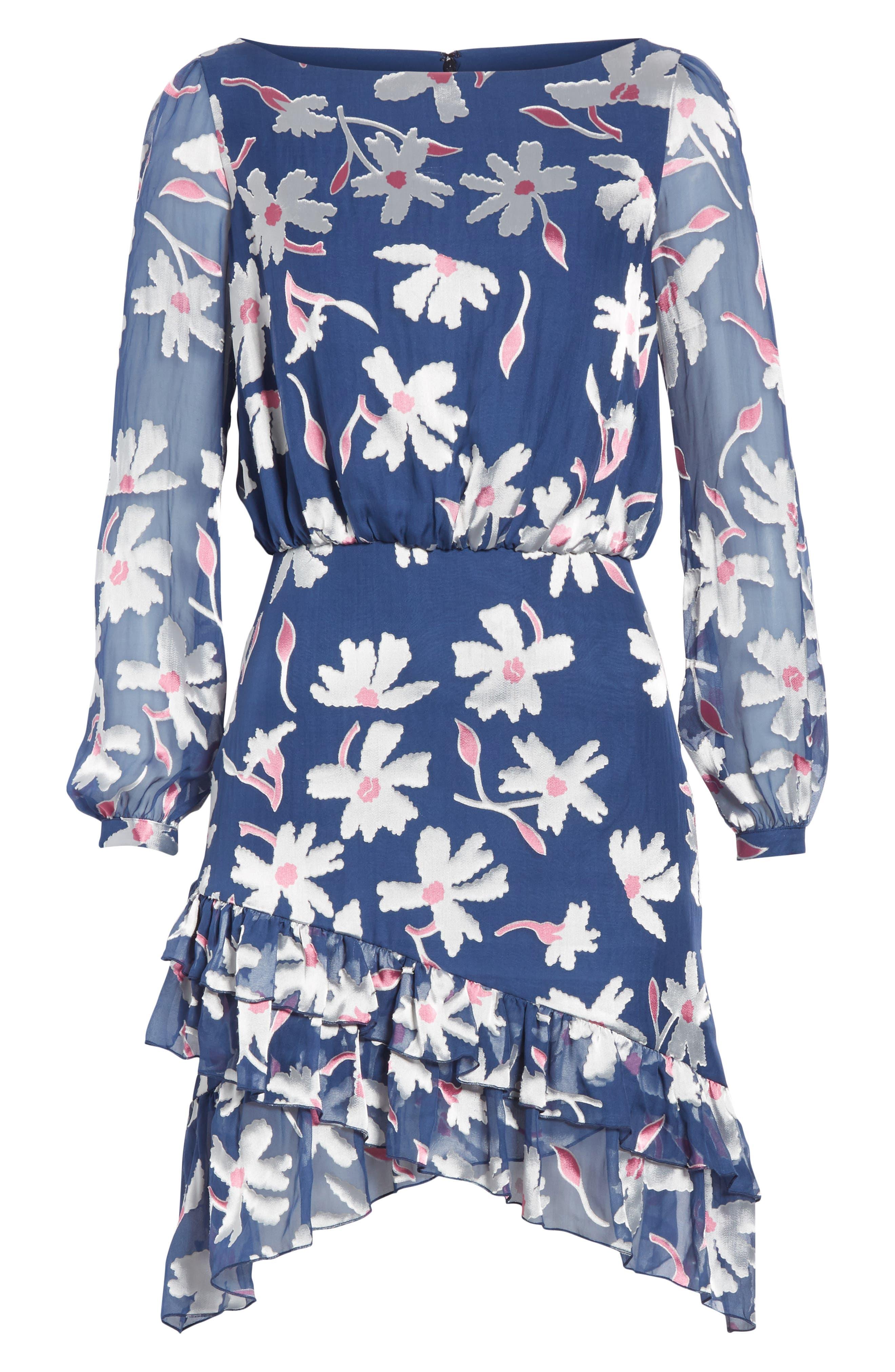 Felicia Asymmetrical Silk Blend Dress,                             Alternate thumbnail 6, color,                             WATER DAISIES
