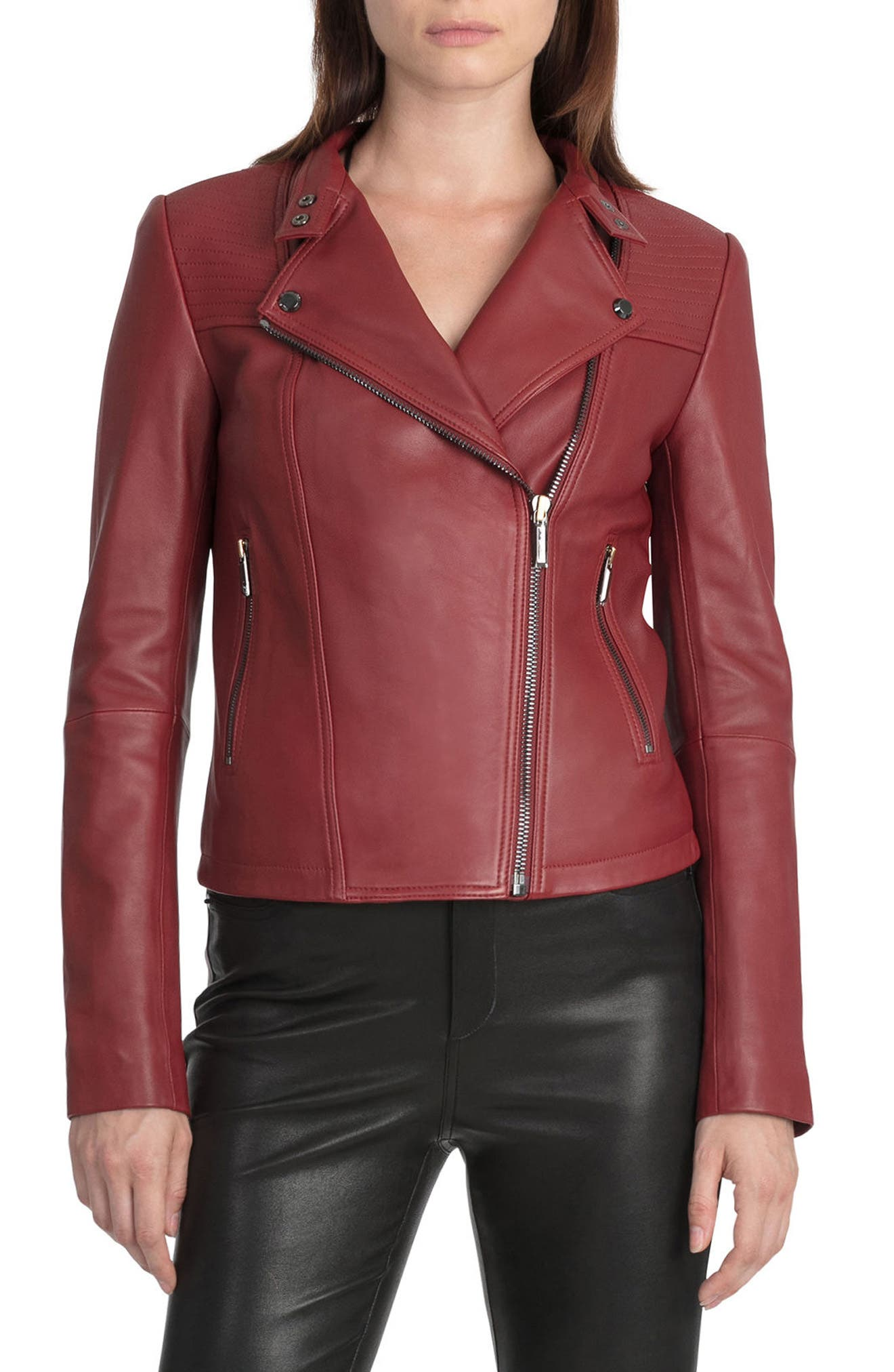 Bagatelle Quilted Lambskin Leather Moto Jacket,                             Alternate thumbnail 14, color,