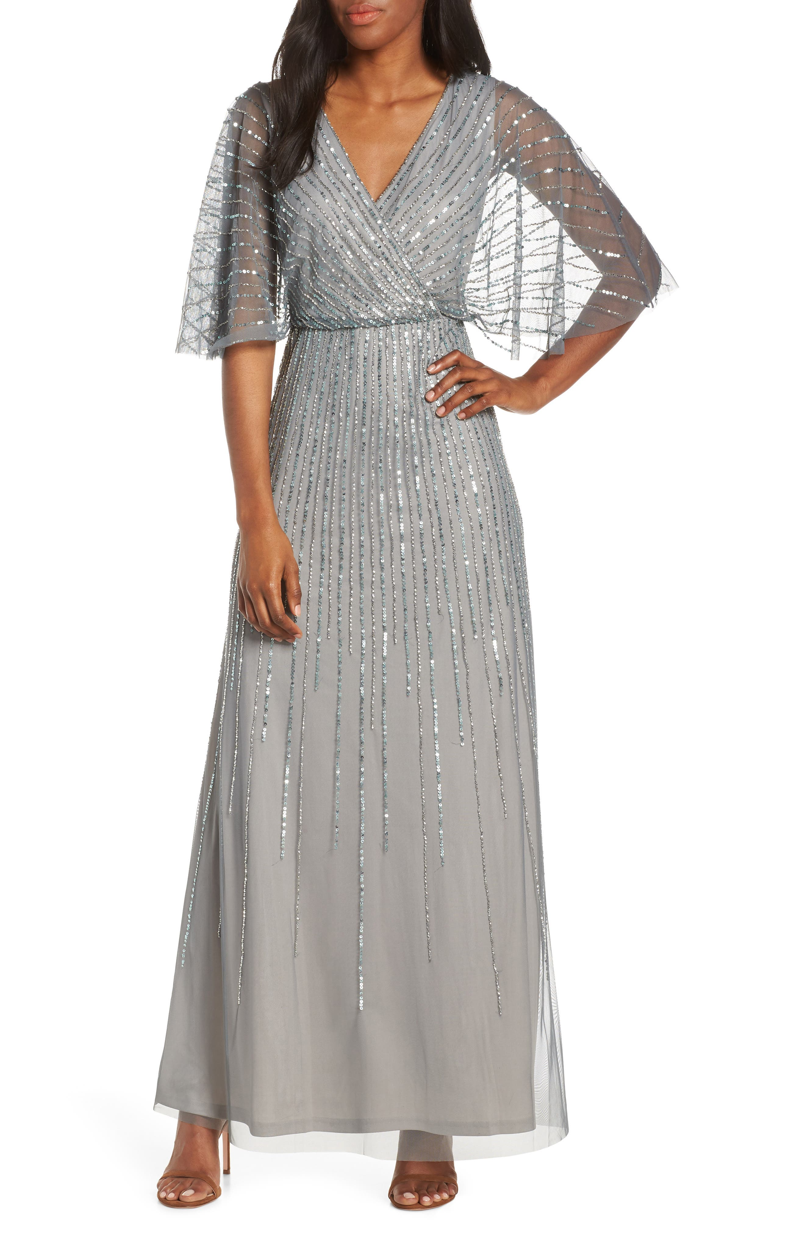 1930s Dresses | 30s Art Deco Dress Womens Adrianna Papell Sequin Stripe Mesh Evening Dress $279.00 AT vintagedancer.com