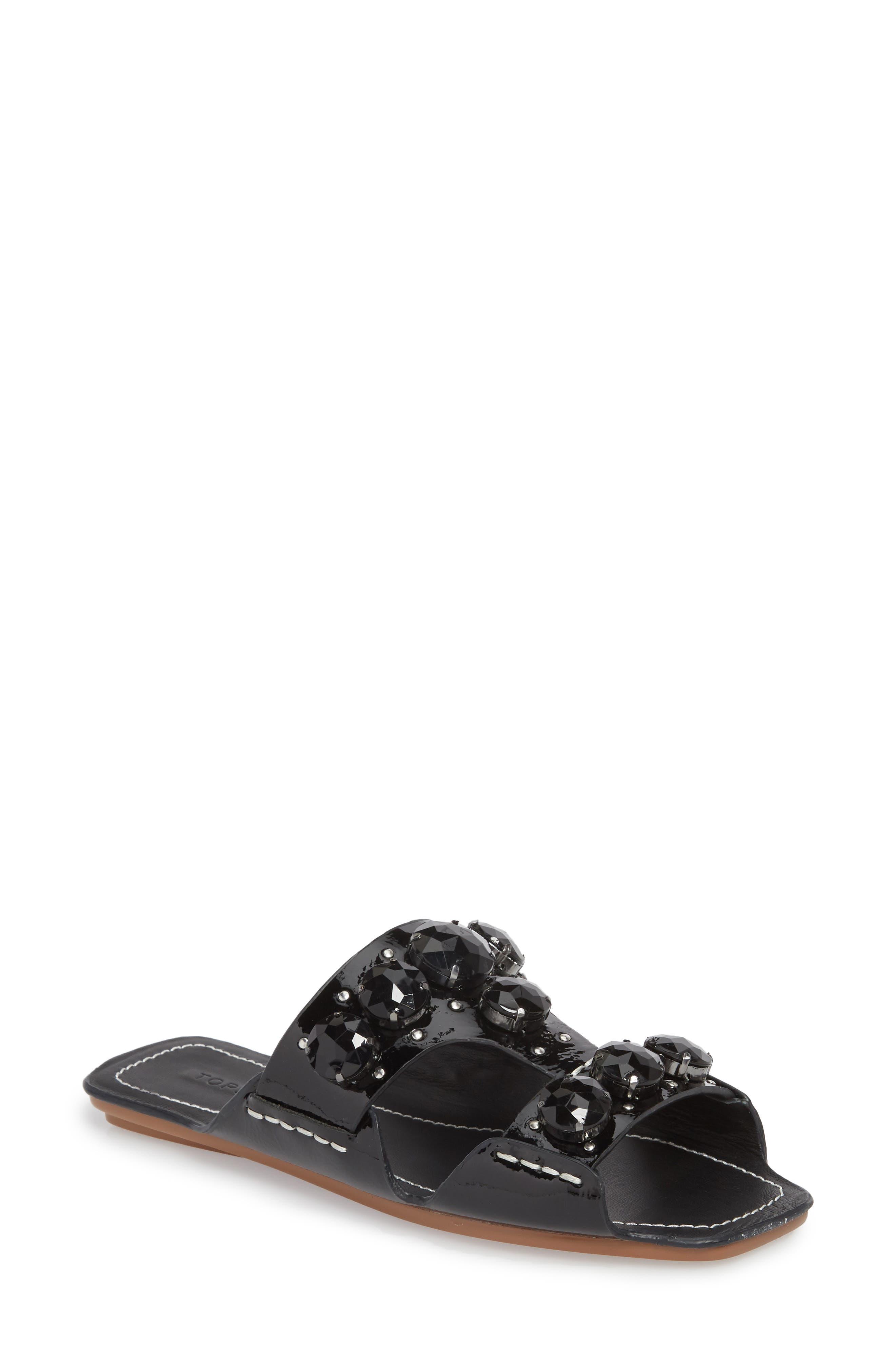 Fascinate Gem Slide Sandal,                             Main thumbnail 1, color,                             BLACK
