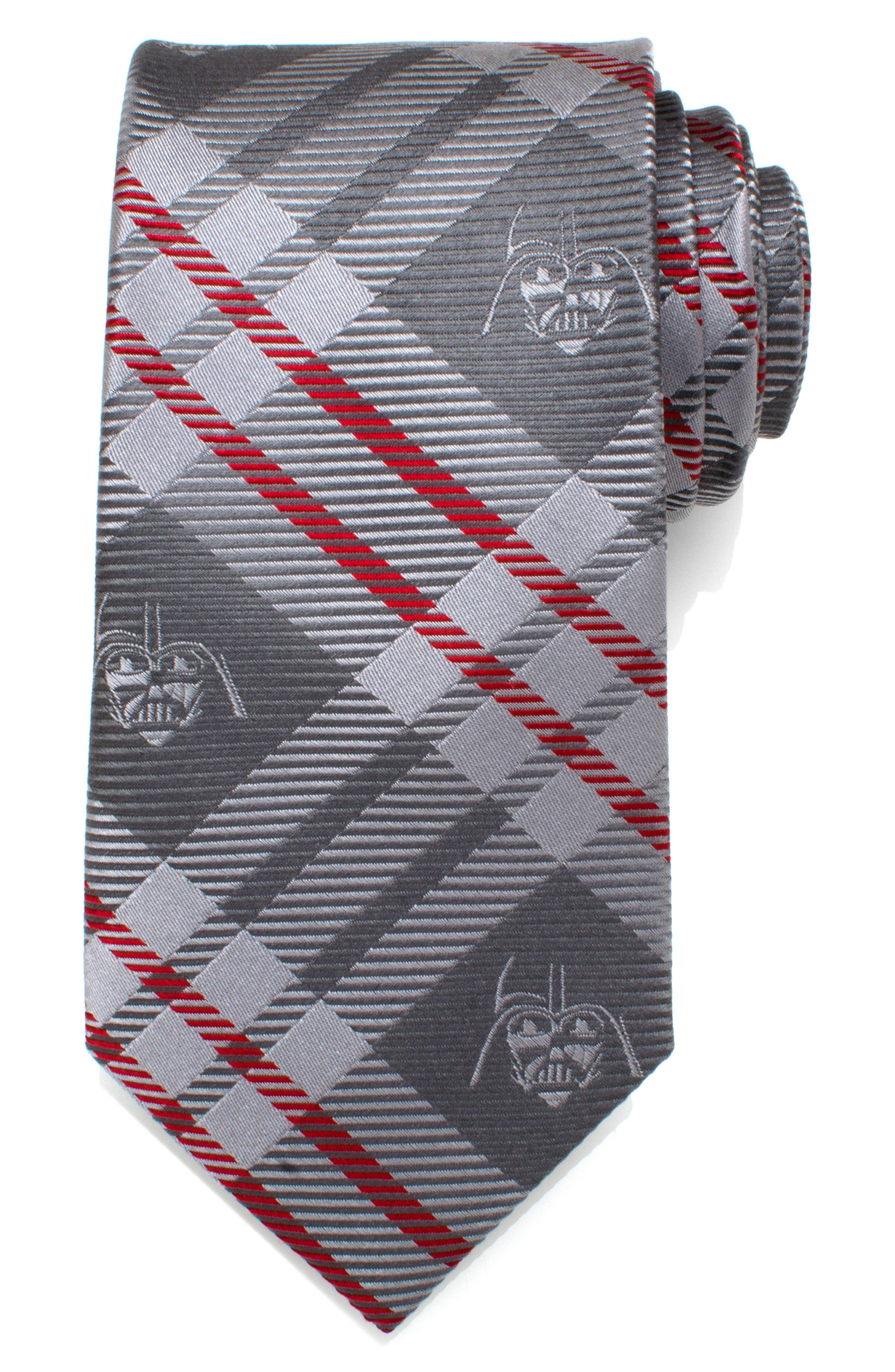 Star Wars<sup>™</sup> Darth Vader Plaid Silk Tie,                             Main thumbnail 1, color,                             GRAY