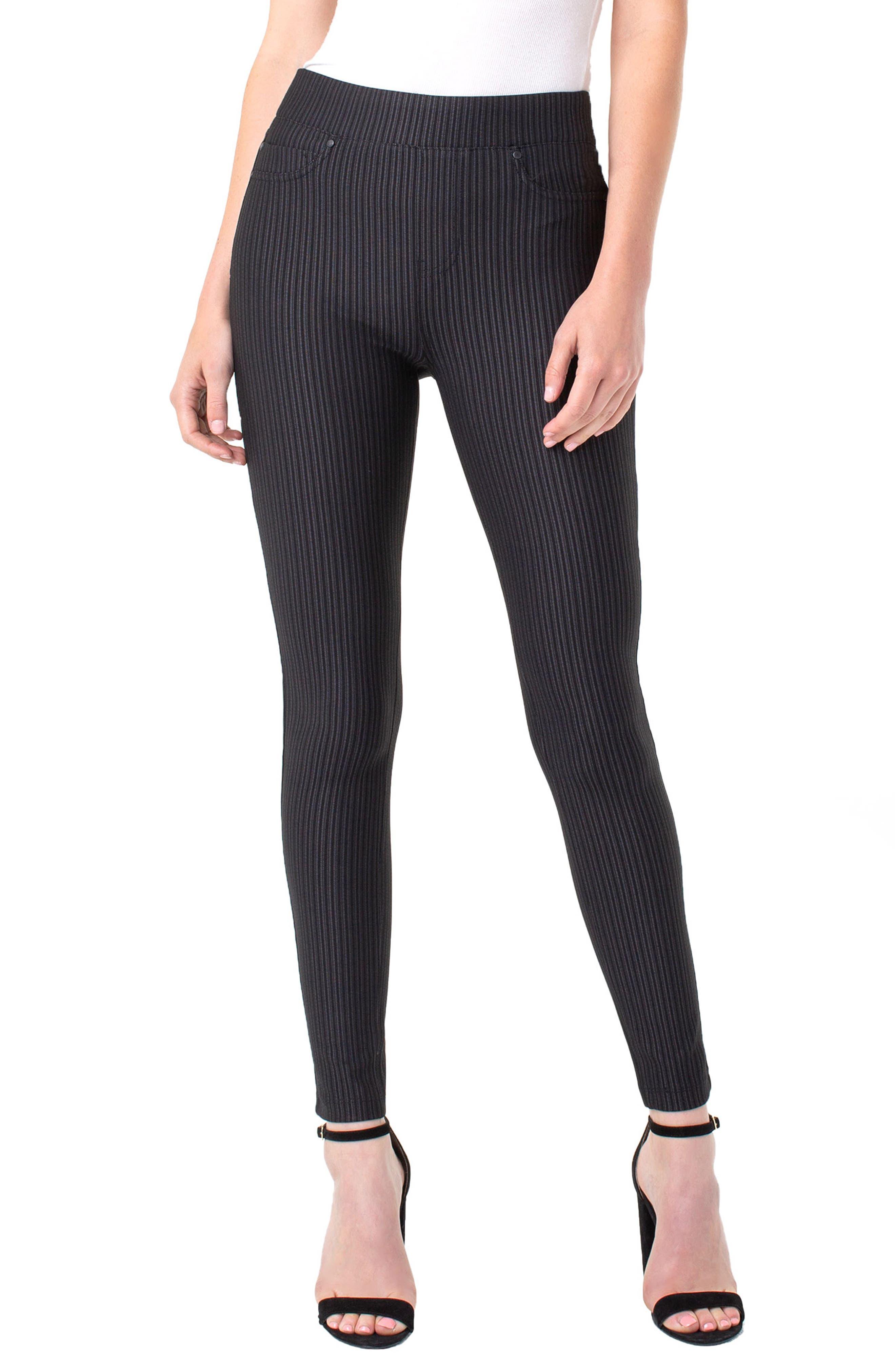 Liverpool Sienna Tonal Stripe Pull-On Leggings, Black