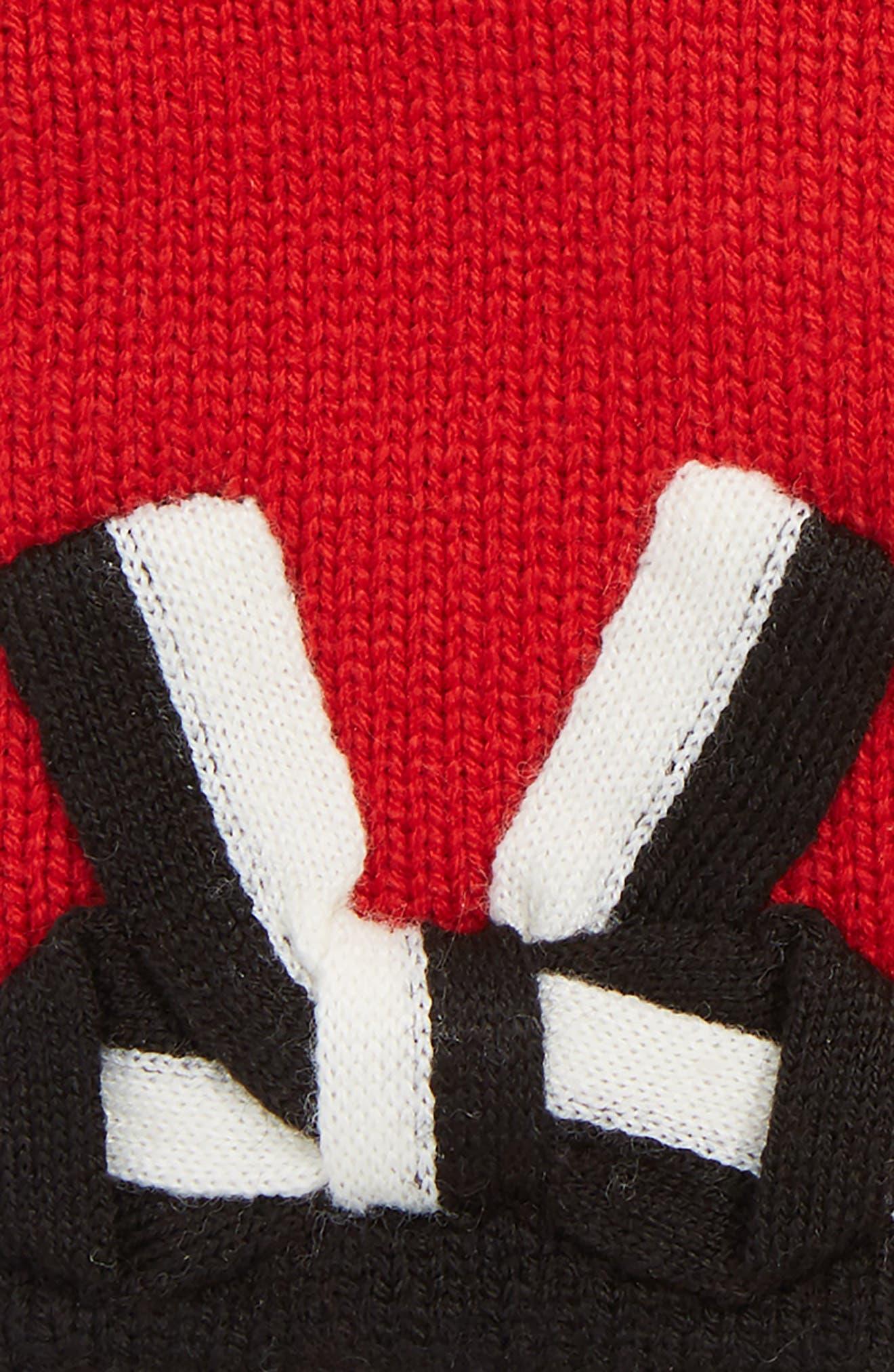 bow appliqué gloves,                             Alternate thumbnail 3, color,                             LINGONBERRY/ BLACK/ CREAM BOW
