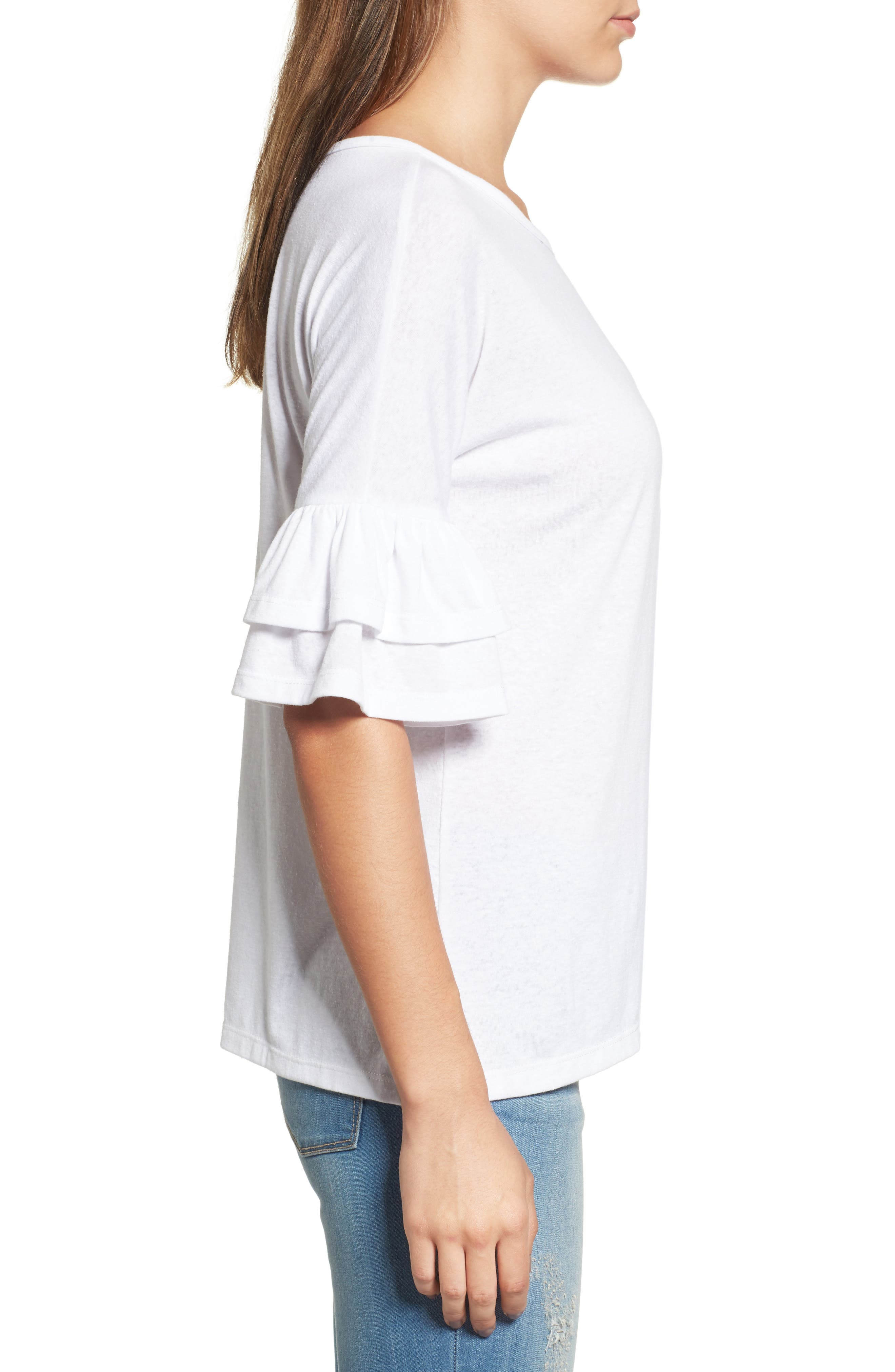 Tiered Bell Sleeve Tee,                             Alternate thumbnail 20, color,