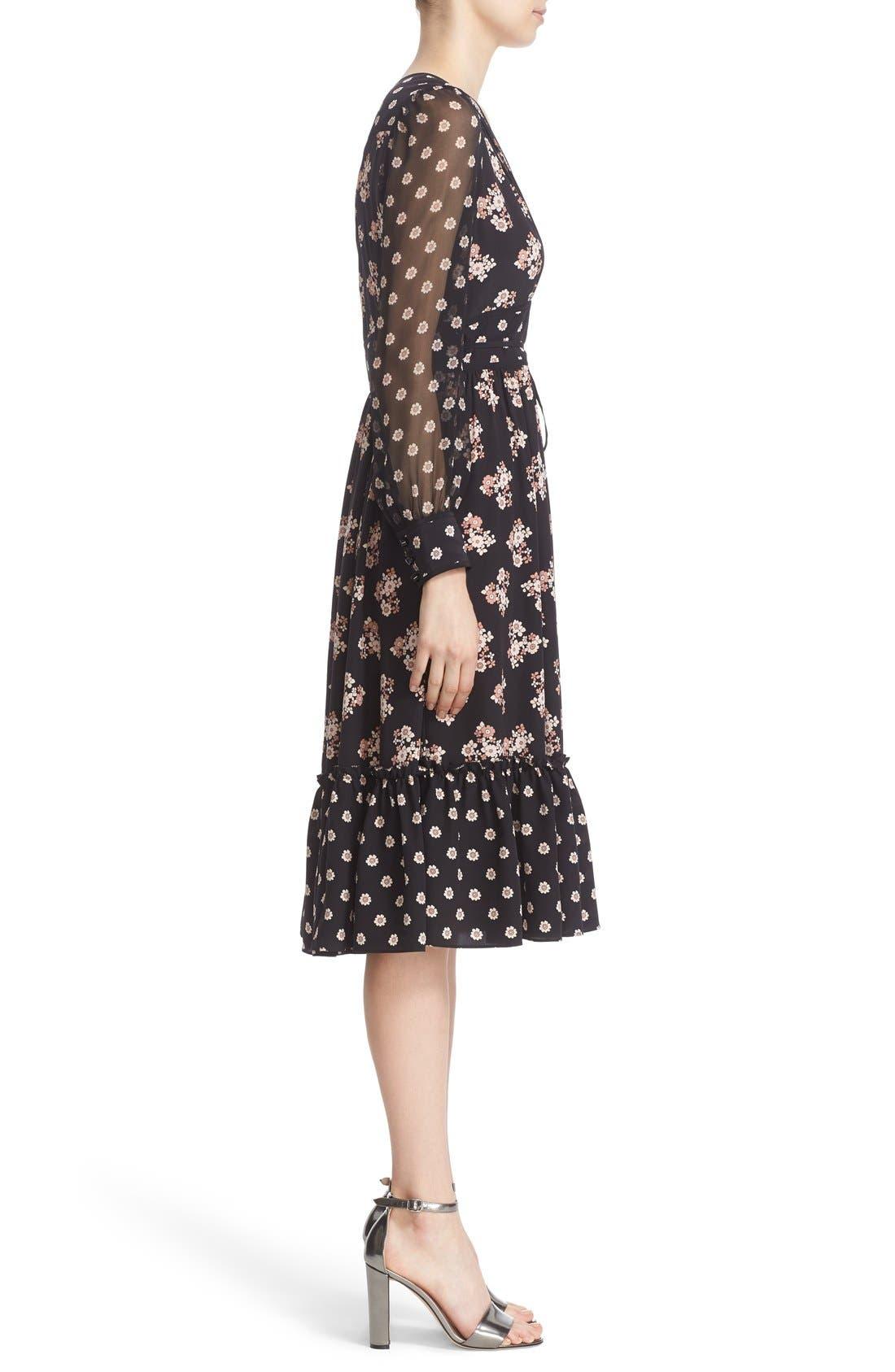 ditsy print silk midi dress,                             Alternate thumbnail 4, color,                             001