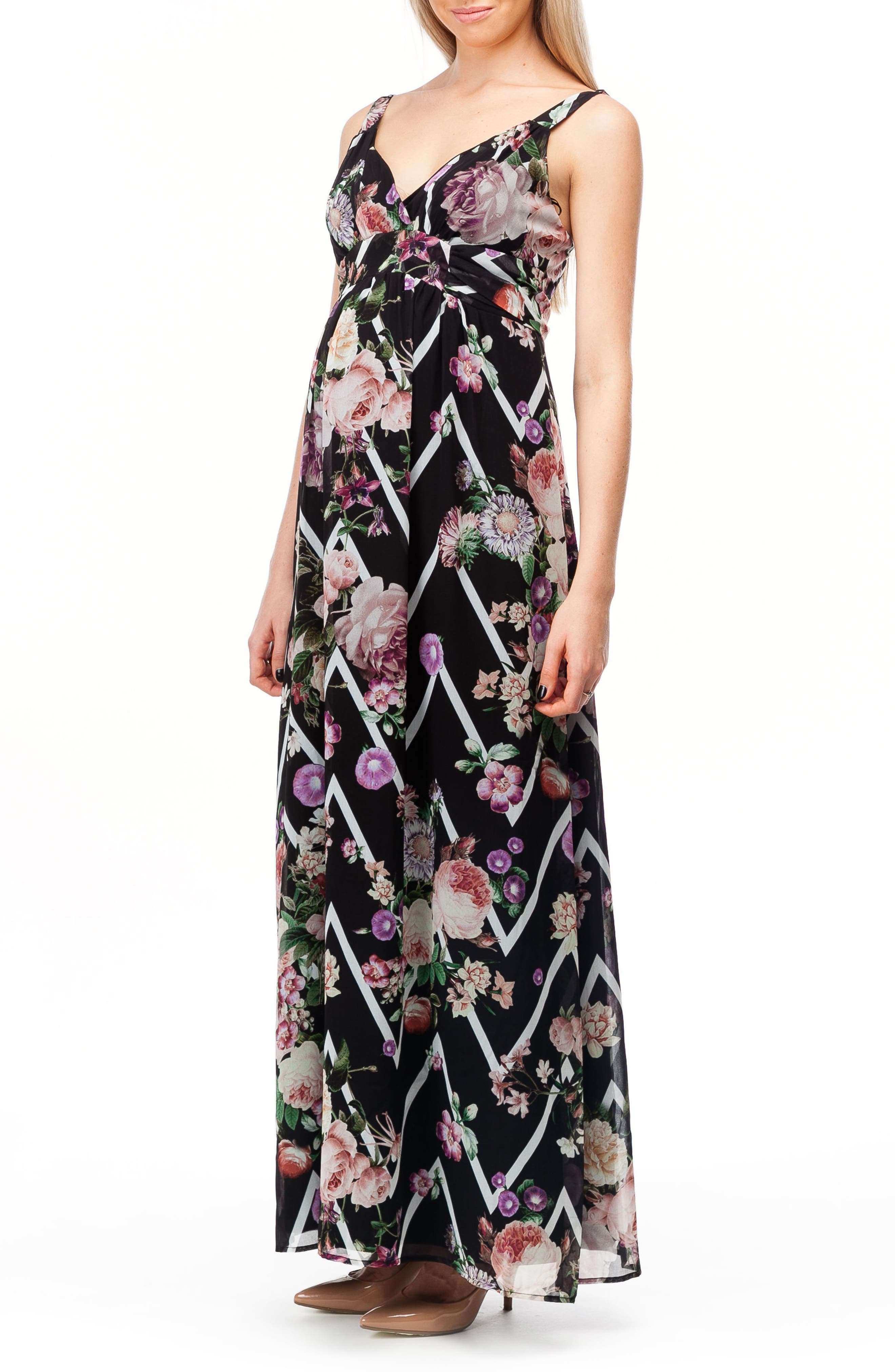 Murano Maternity Maxi Dress,                             Alternate thumbnail 3, color,                             FLOWER ZIGZAG