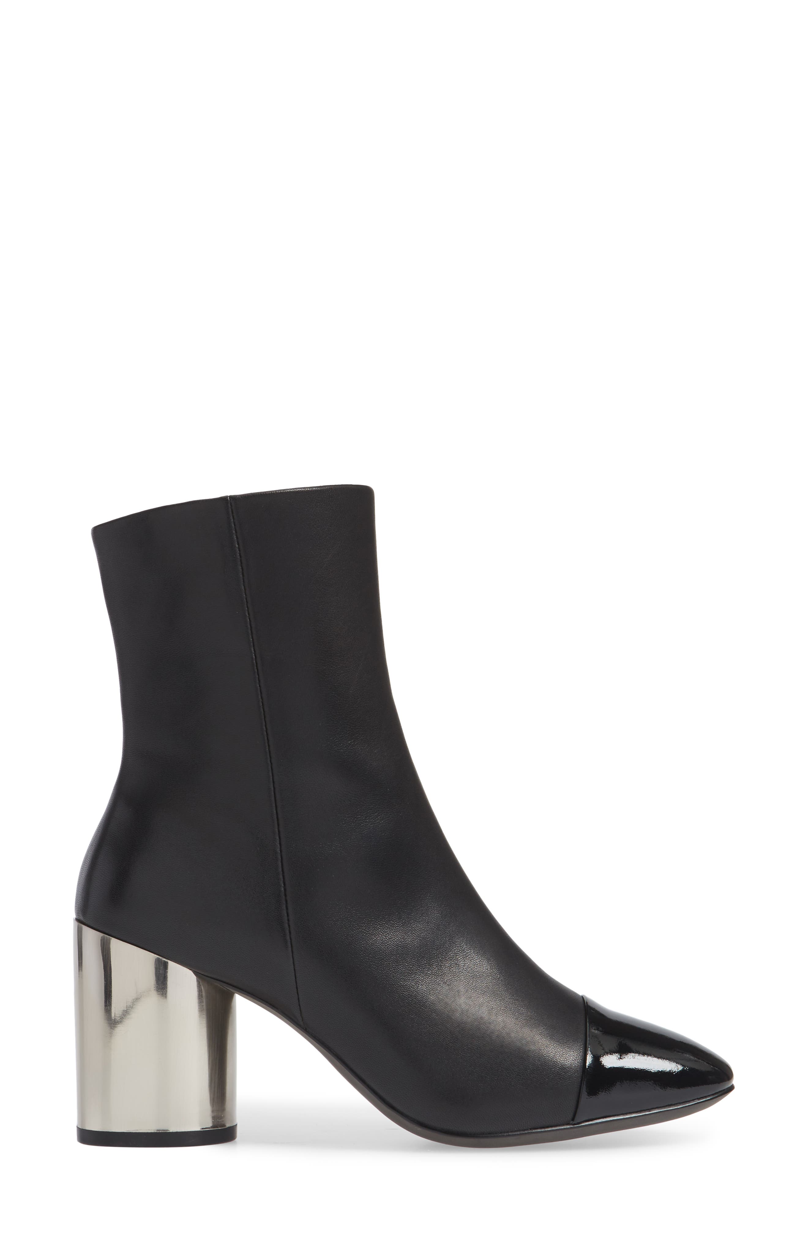 Stella Cap Toe Bootie,                             Alternate thumbnail 3, color,                             BLACK MATTE LEATHER