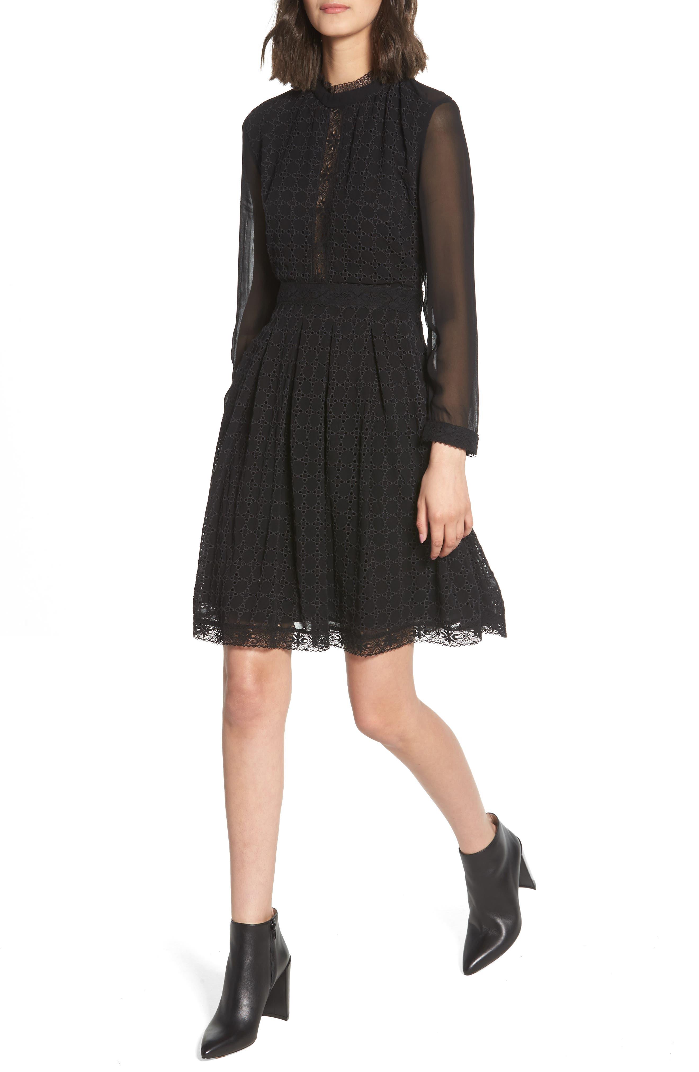 ALLSAINTS Lilith Dress, Main, color, 001