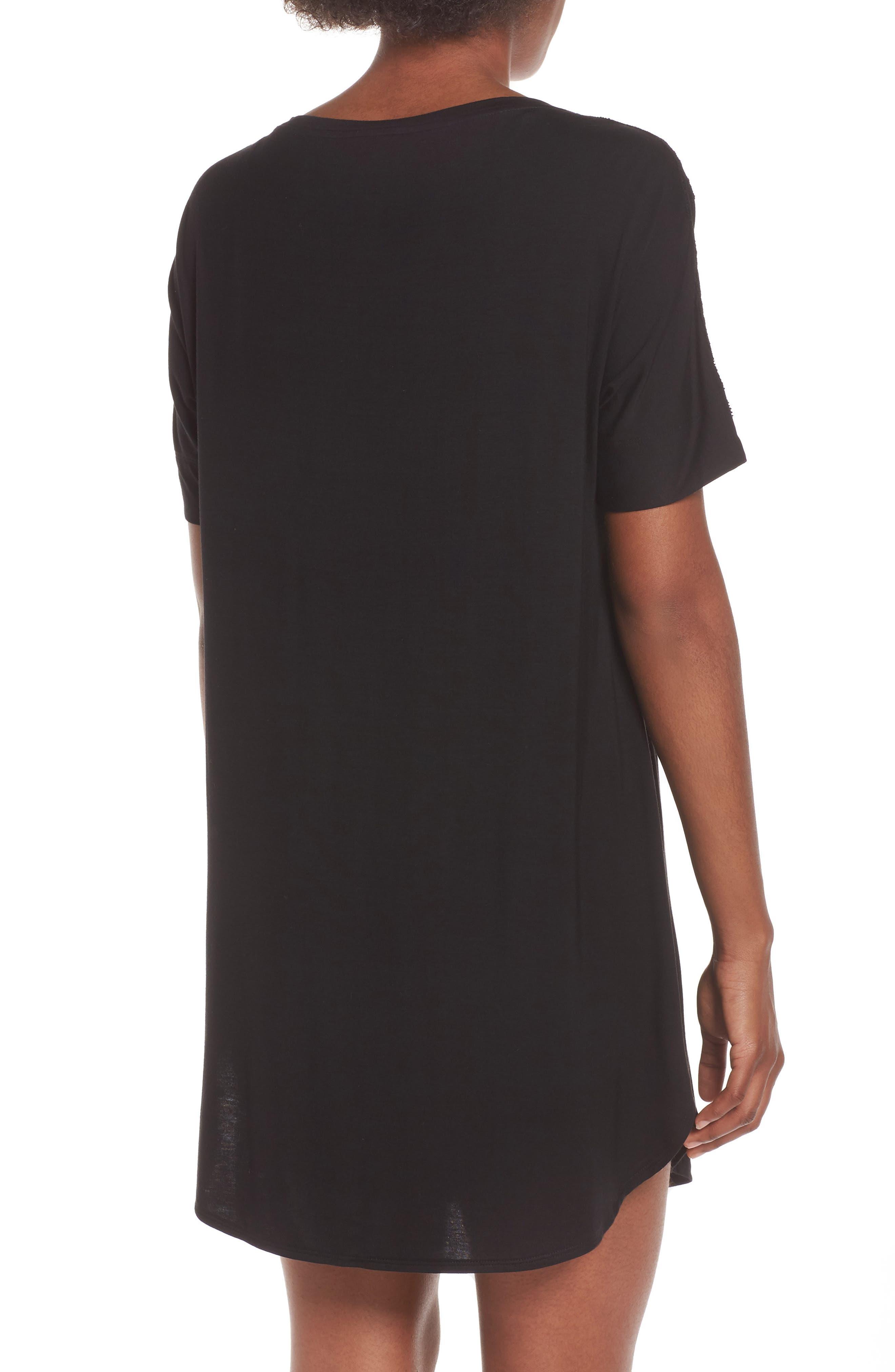 NATORI,                             Feathers Essential Sleep Shirt,                             Alternate thumbnail 2, color,                             BLACK