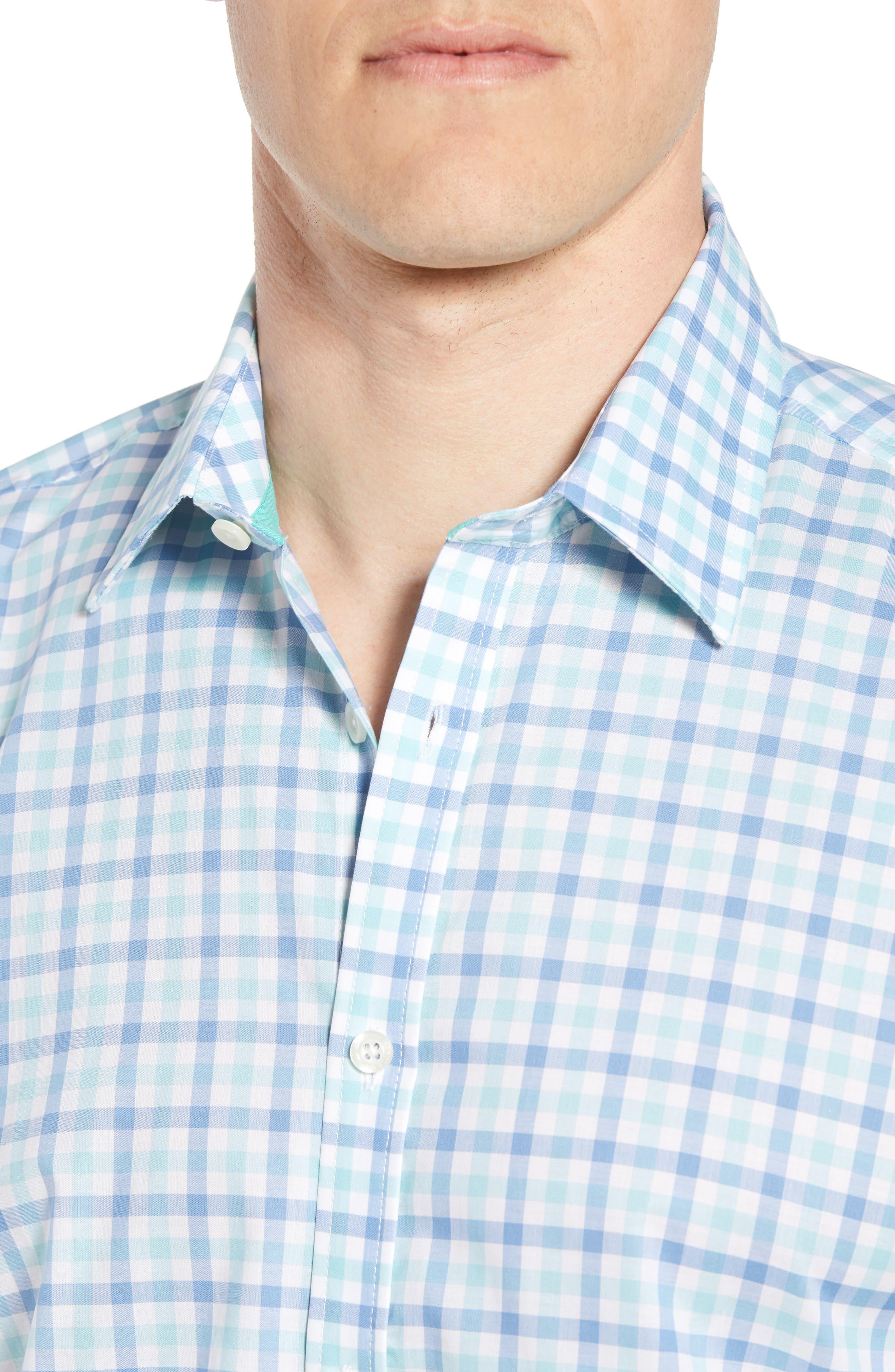Slim Fit Check Sport Shirt,                             Alternate thumbnail 4, color,                             MEDIUM BLUE