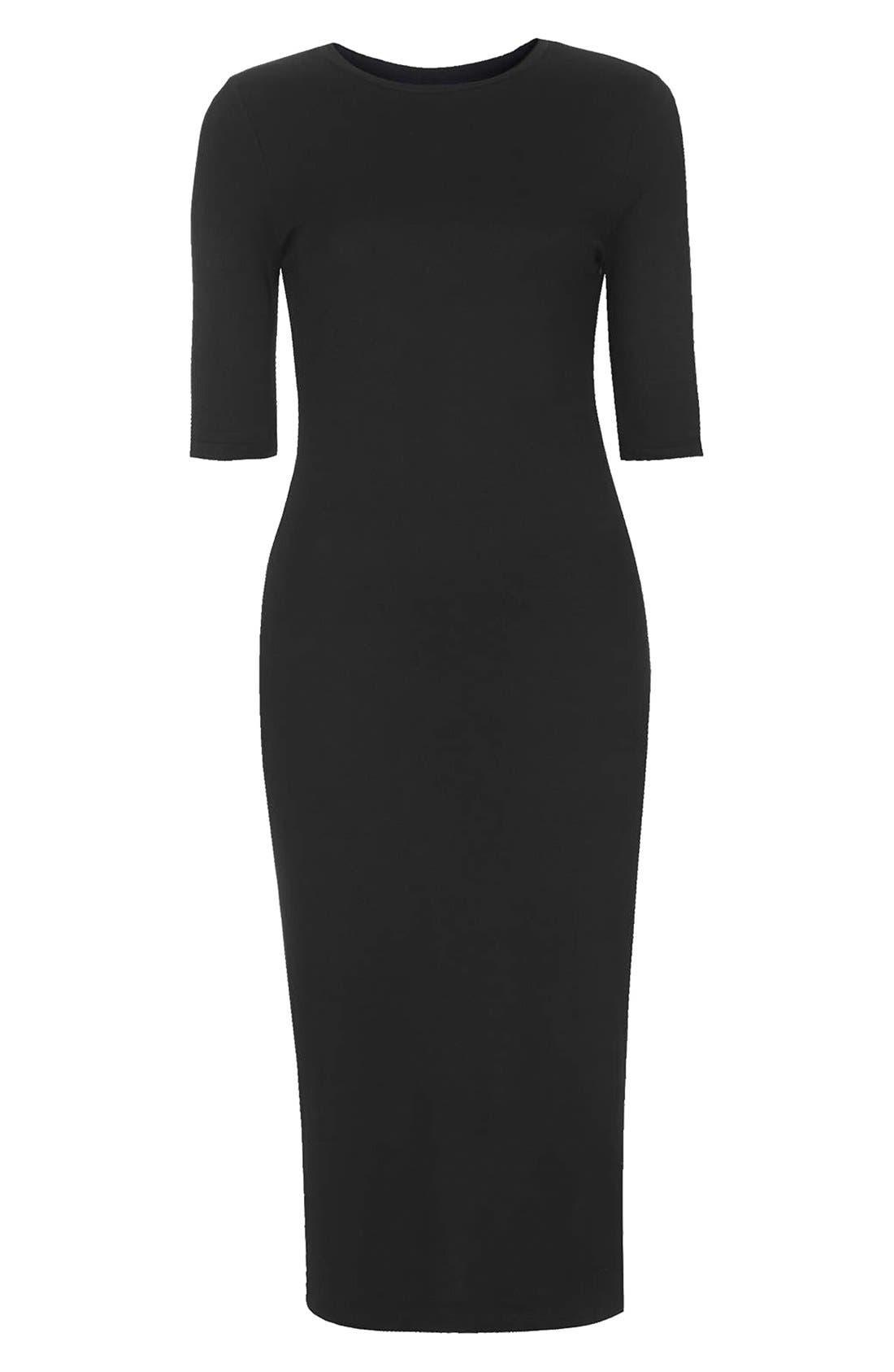Body-Con Midi Dress,                             Alternate thumbnail 3, color,                             001