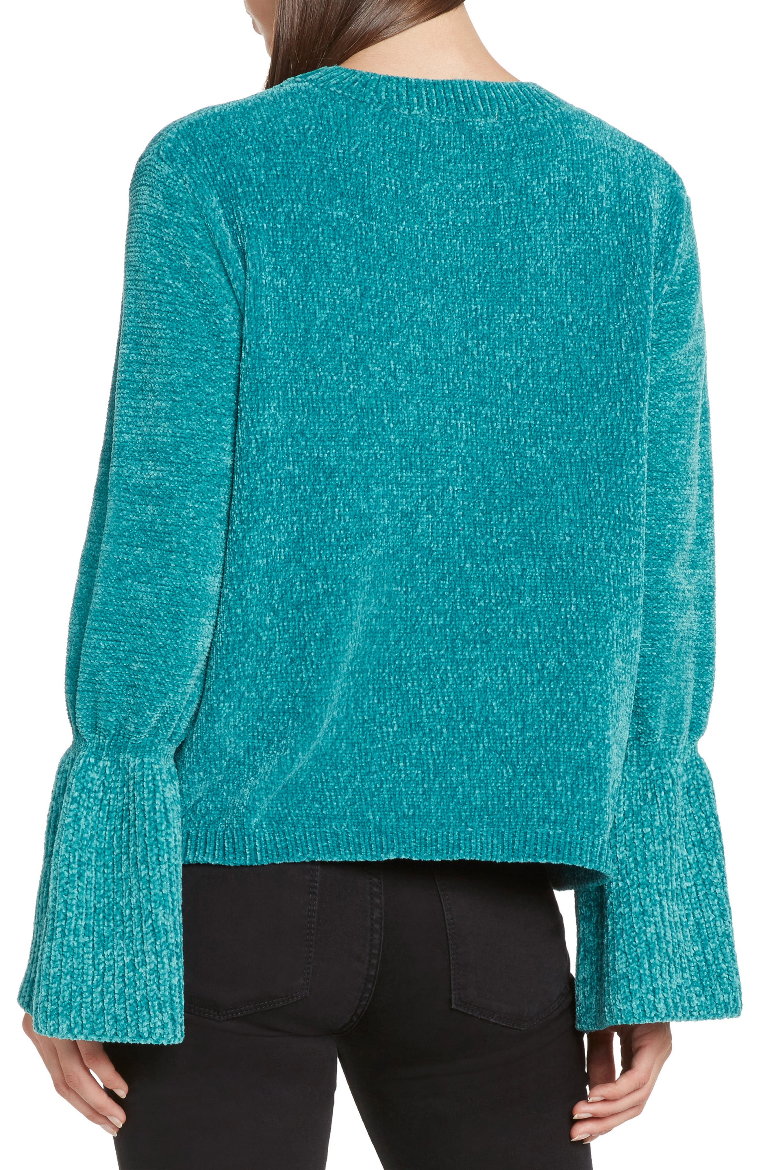 Chenille Bell Sleeve Sweater,                             Alternate thumbnail 2, color,                             LAGOON