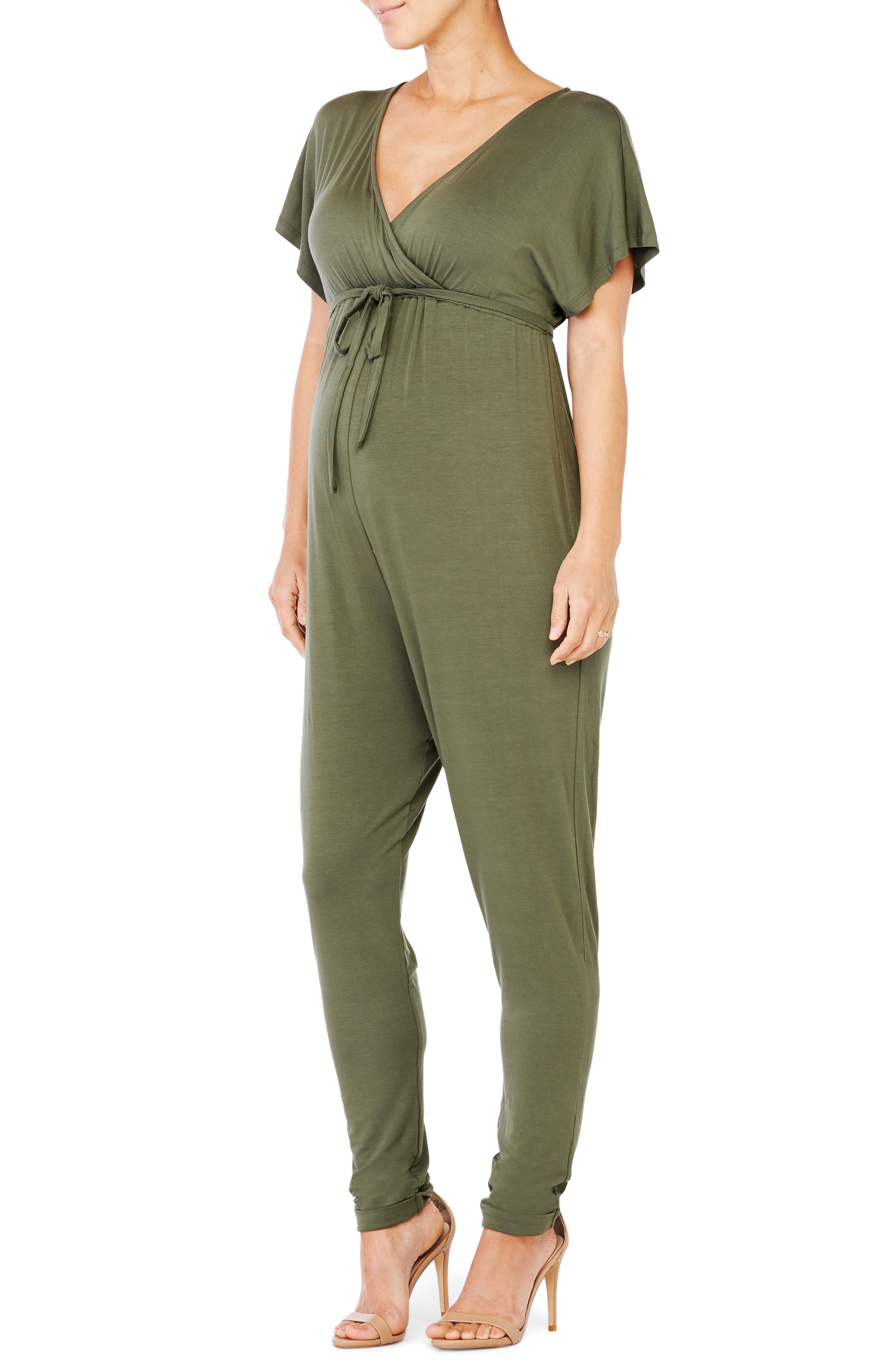 Crossover Maternity Jumpsuit,                             Alternate thumbnail 3, color,                             OLIVE
