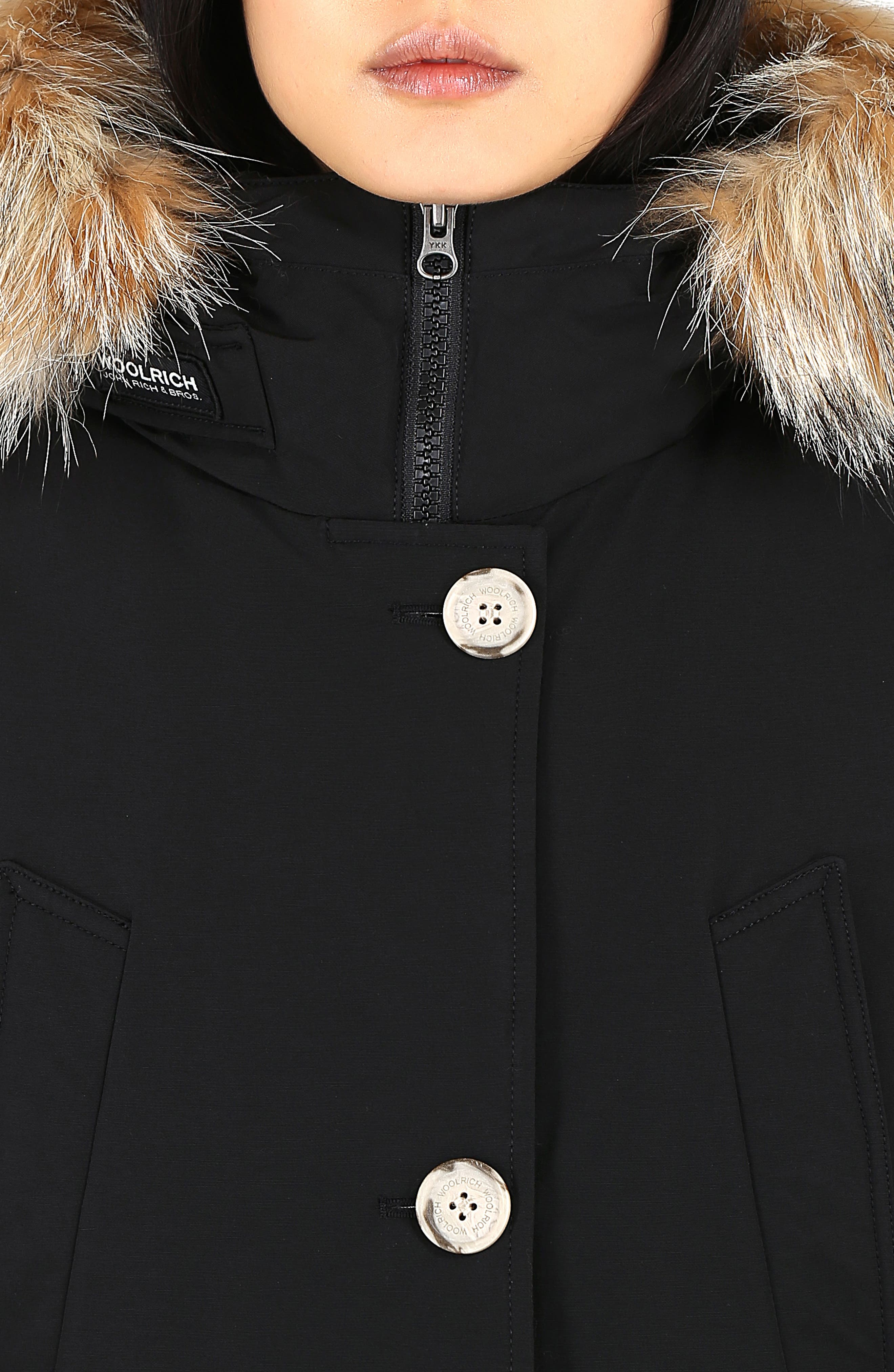 High Collar Arctic Down Parka with Genuine Coyote Fur Trim,                             Alternate thumbnail 8, color,                             BLACK