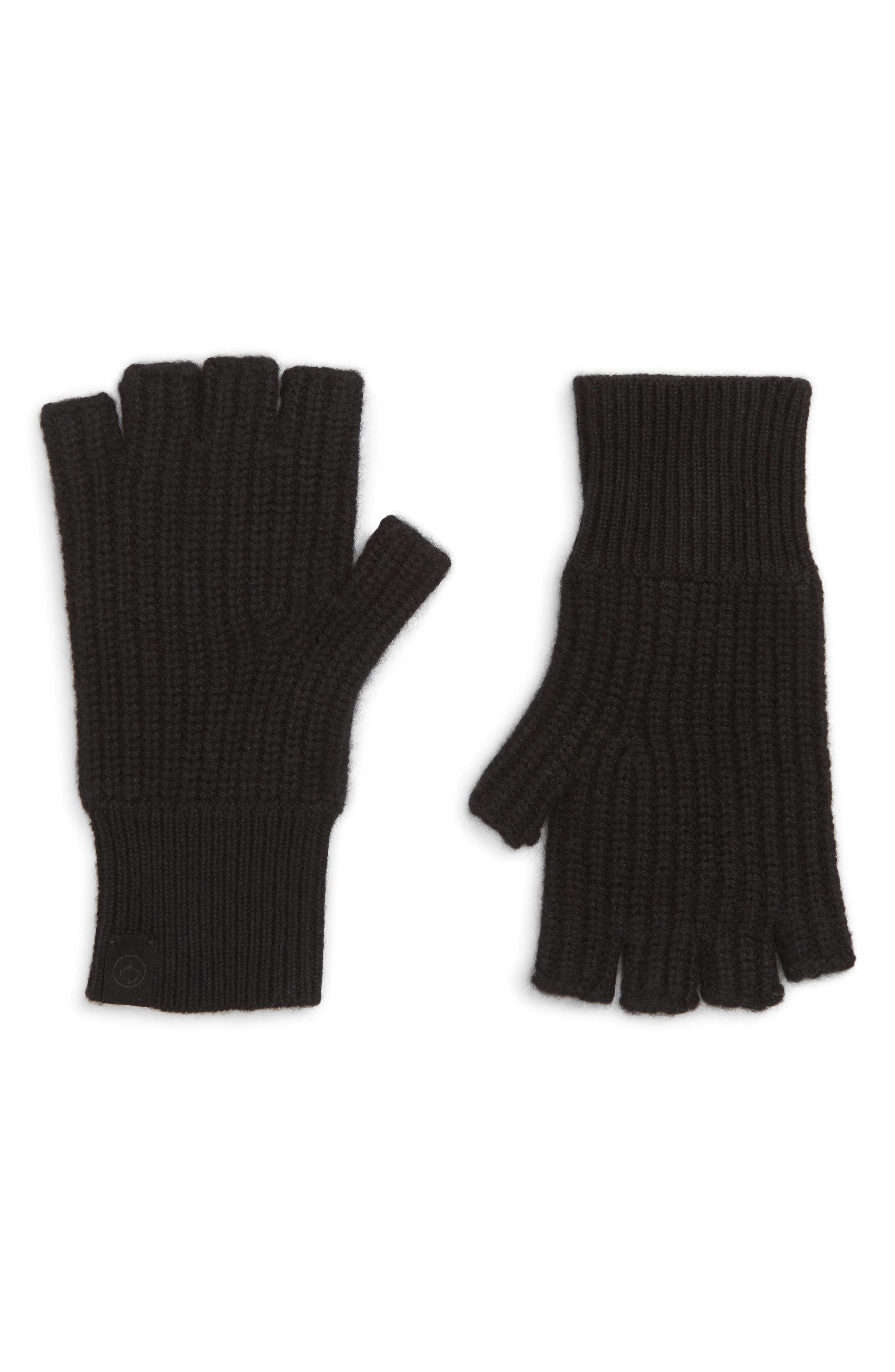 Ace Rib Knit Cashmere Fingerless Gloves,                         Main,                         color, 001
