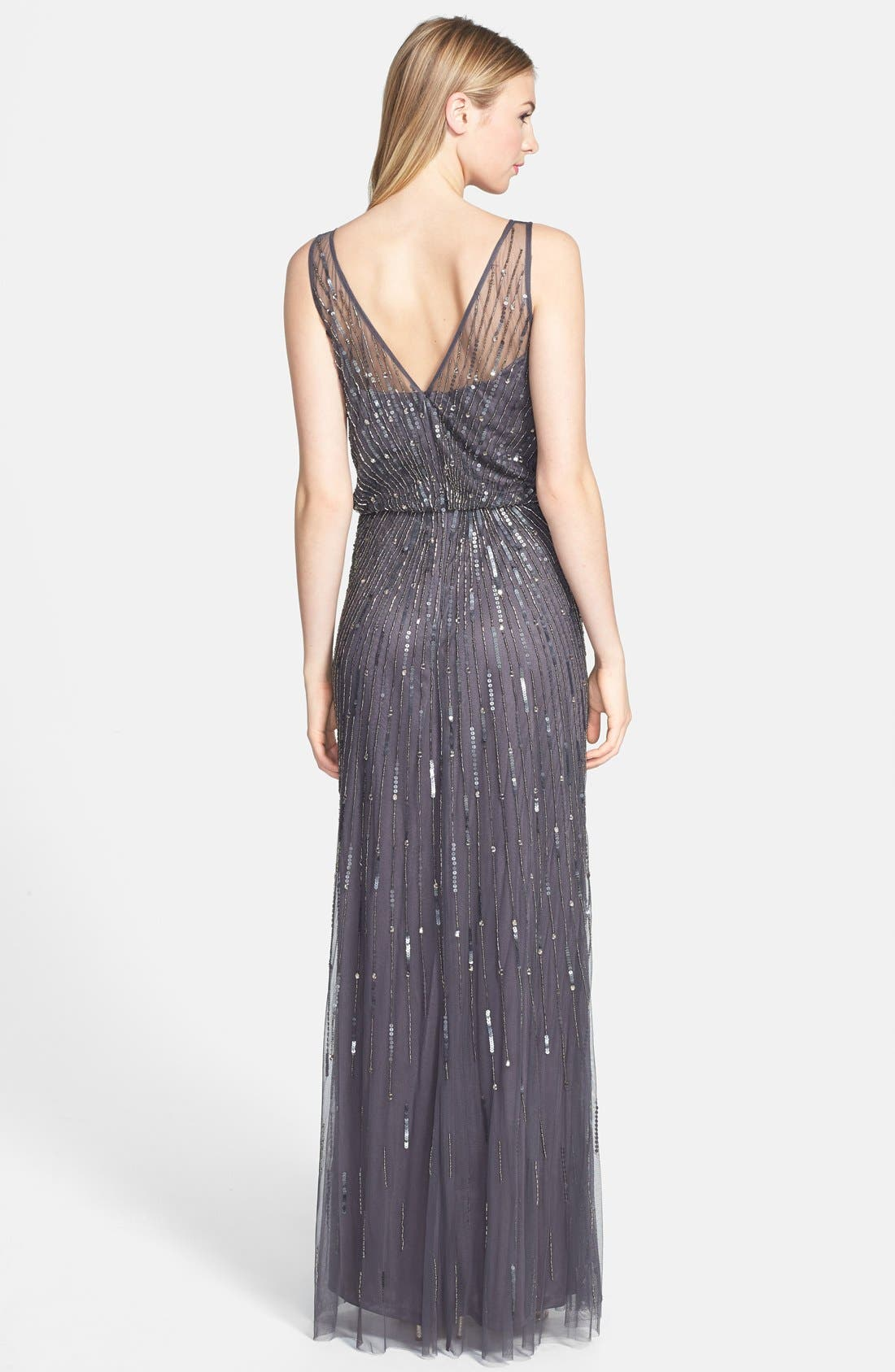 AIDAN MATTOX,                             Illusion Yoke Sequin Mesh Gown,                             Alternate thumbnail 2, color,                             020