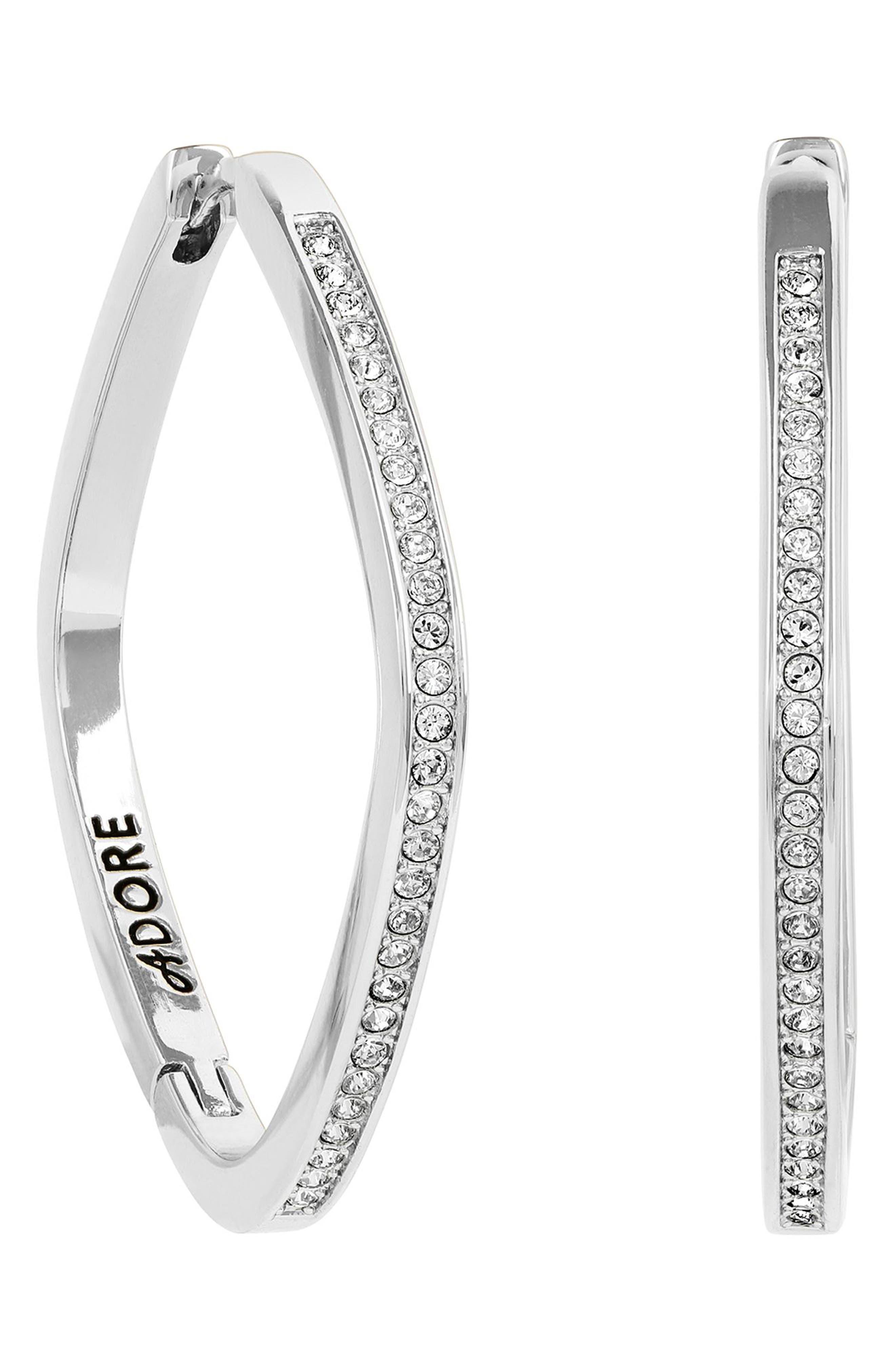 ADORE Soft Square Rhinestone Hoop Earrings in Silver