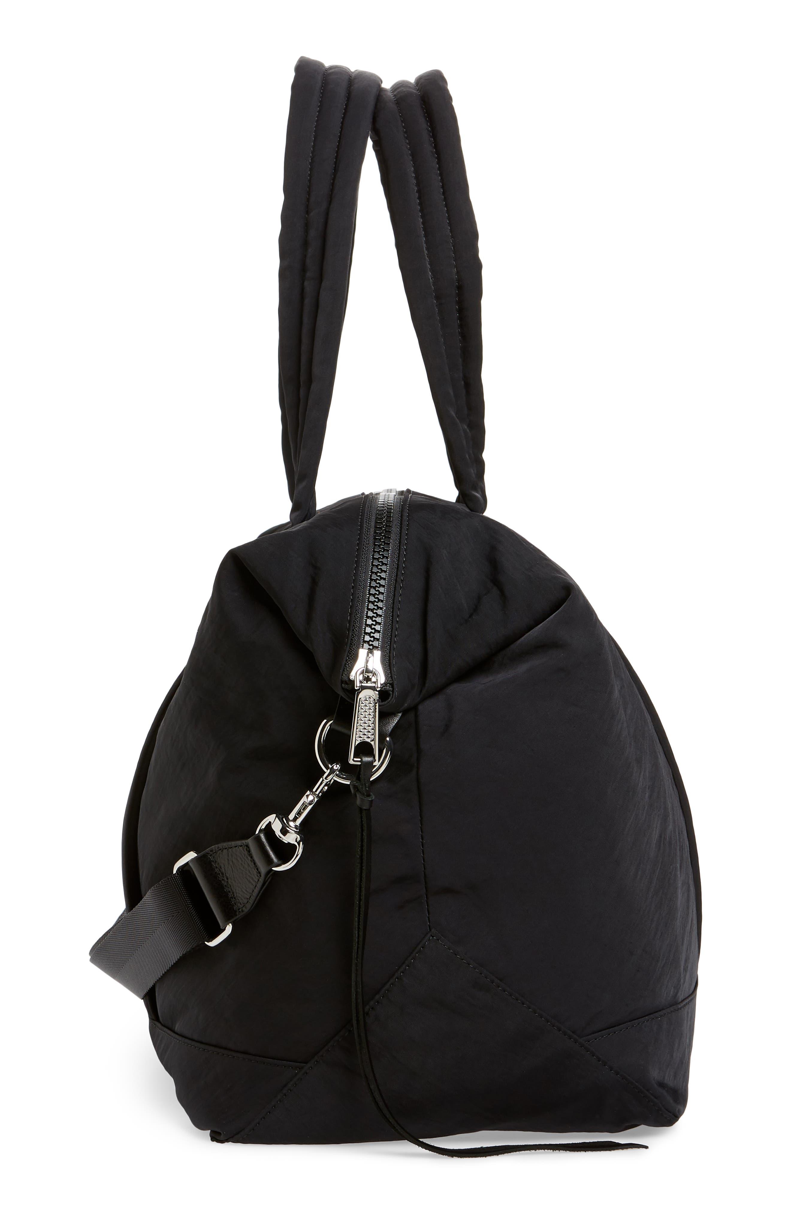 Weekend Nylon Duffel Bag,                             Alternate thumbnail 5, color,                             BLACK