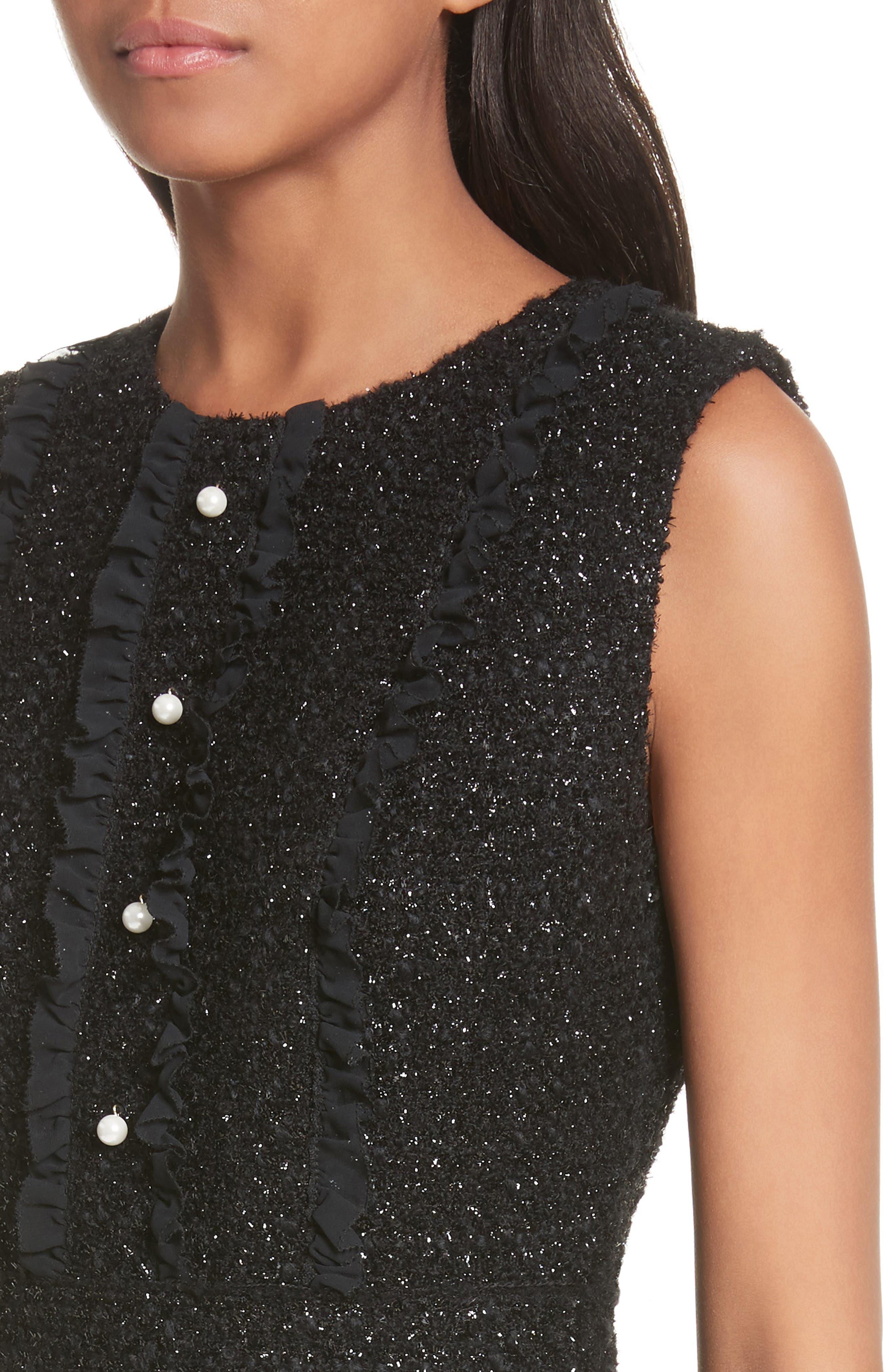 sparkle tweed dress,                             Alternate thumbnail 4, color,                             001
