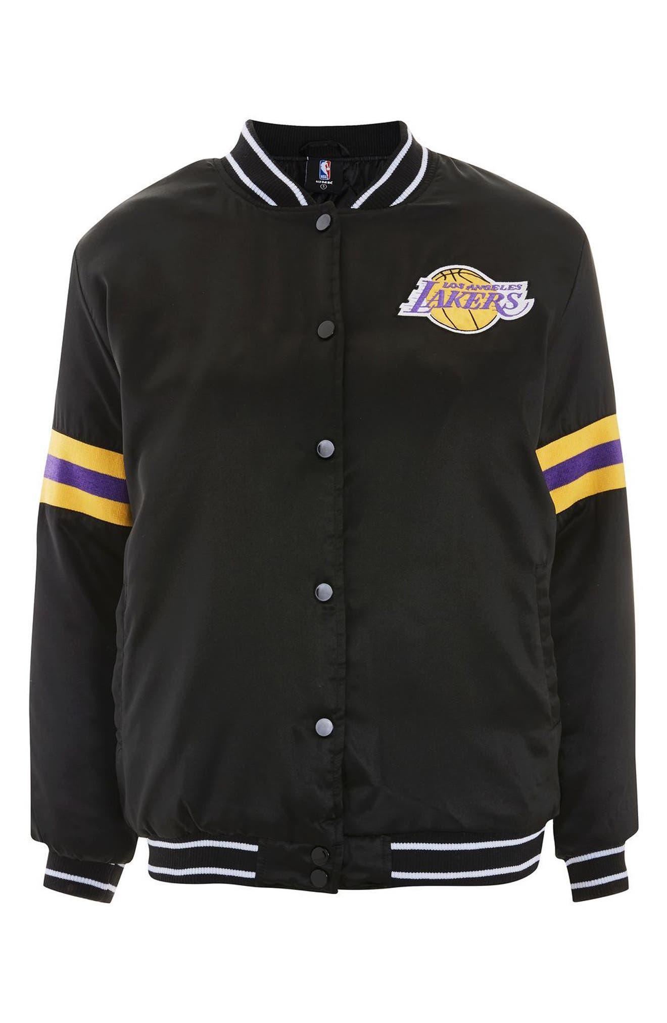 x UNK Lakers Bomber Jacket,                             Alternate thumbnail 4, color,                             001