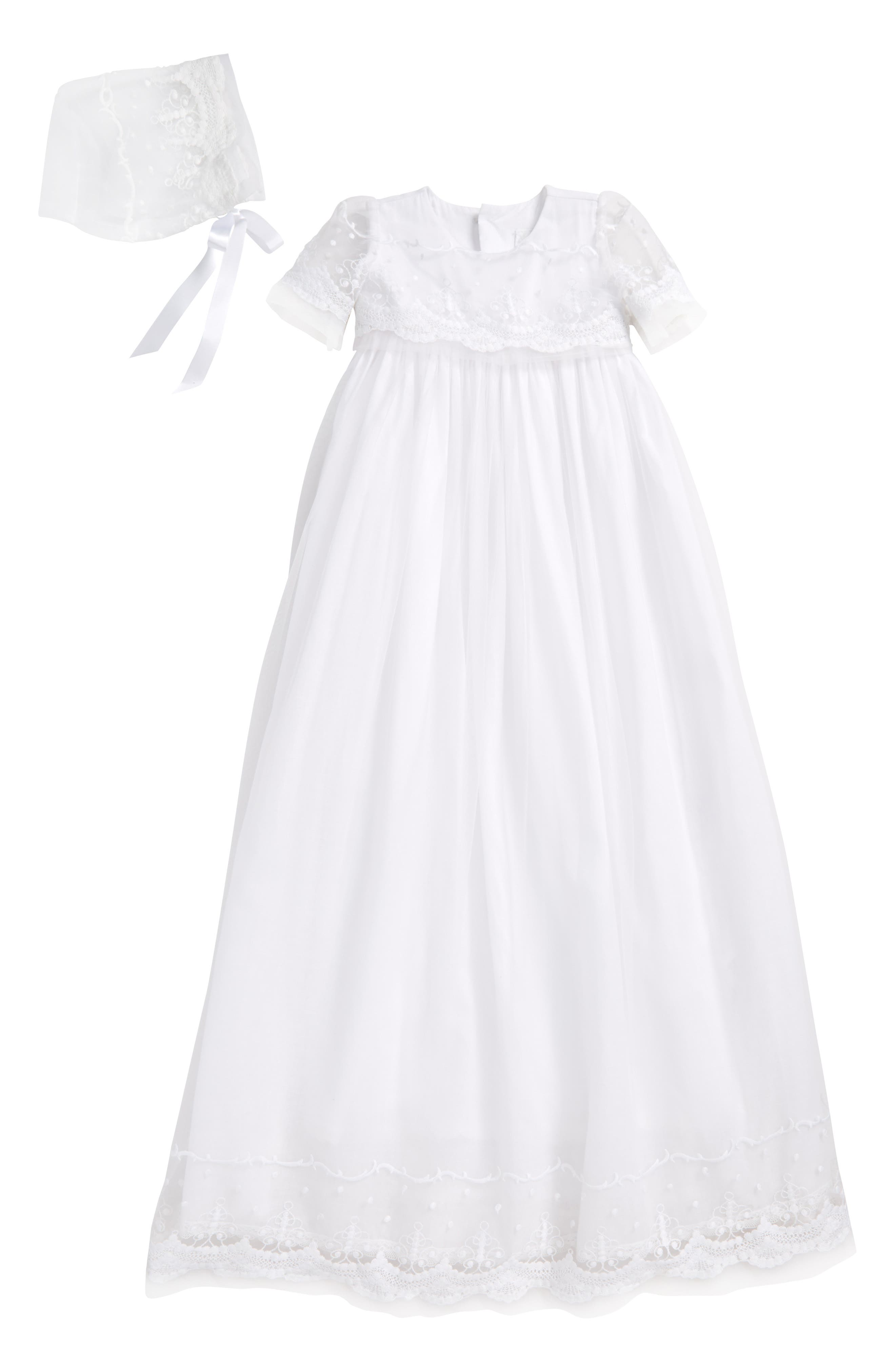 Blessing Christening Gown & Bonnet Set,                             Main thumbnail 1, color,                             WHITE