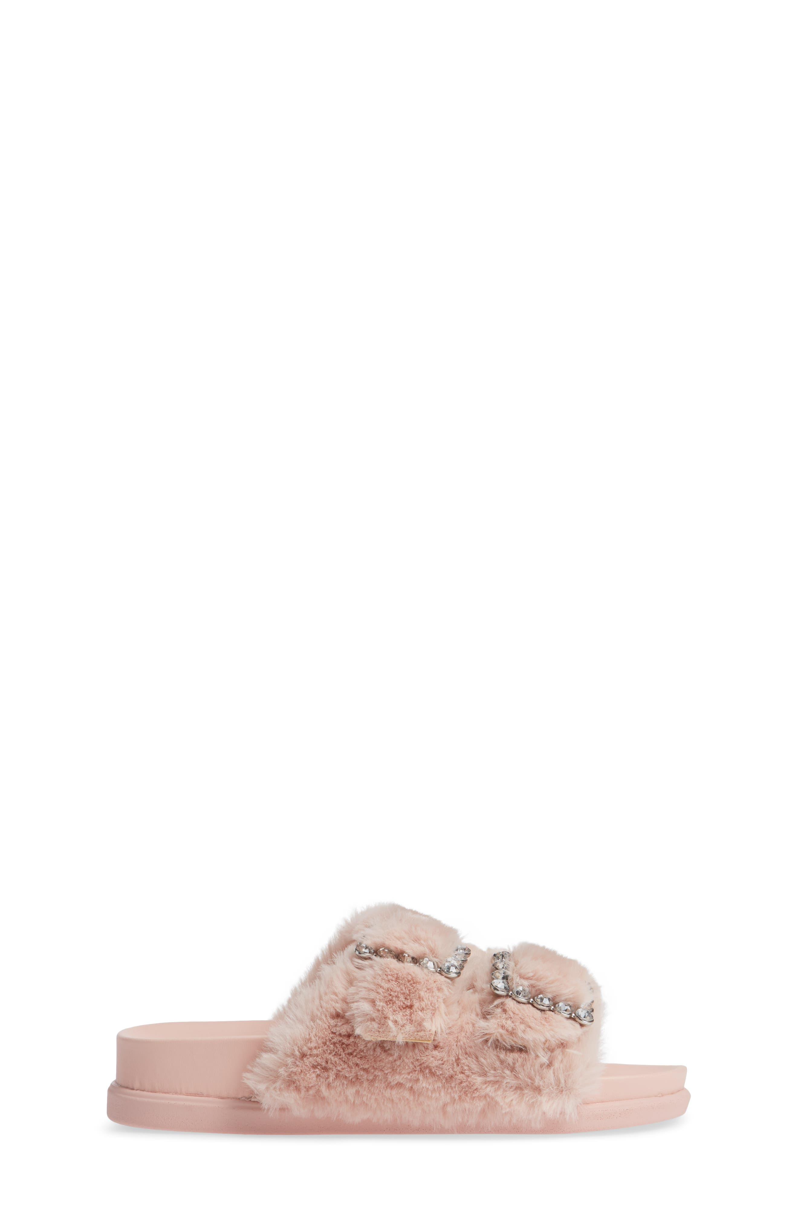 Faux Fur Slide Sandal,                             Alternate thumbnail 3, color,                             650