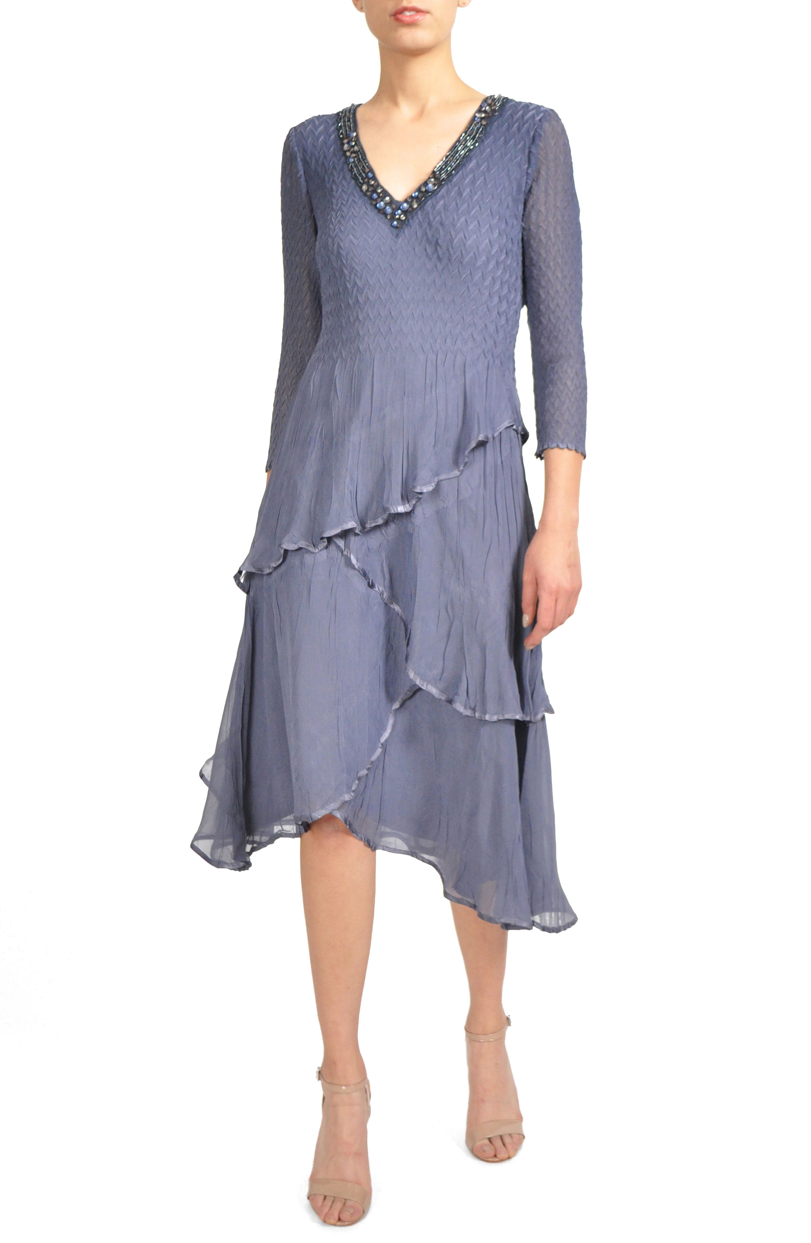 Tiered Chiffon A-Line Dress,                             Alternate thumbnail 2, color,