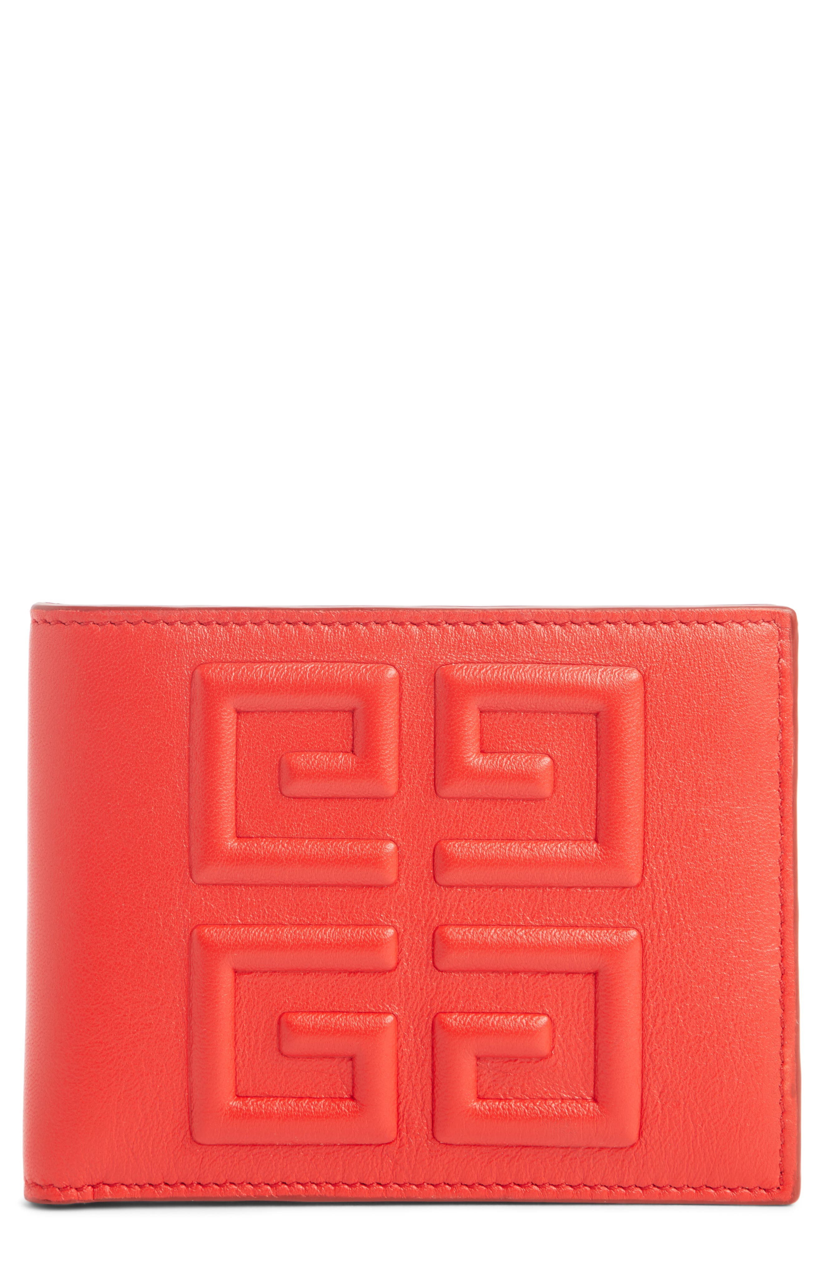Embossed 4G Leather Bifold Wallet,                         Main,                         color, RED