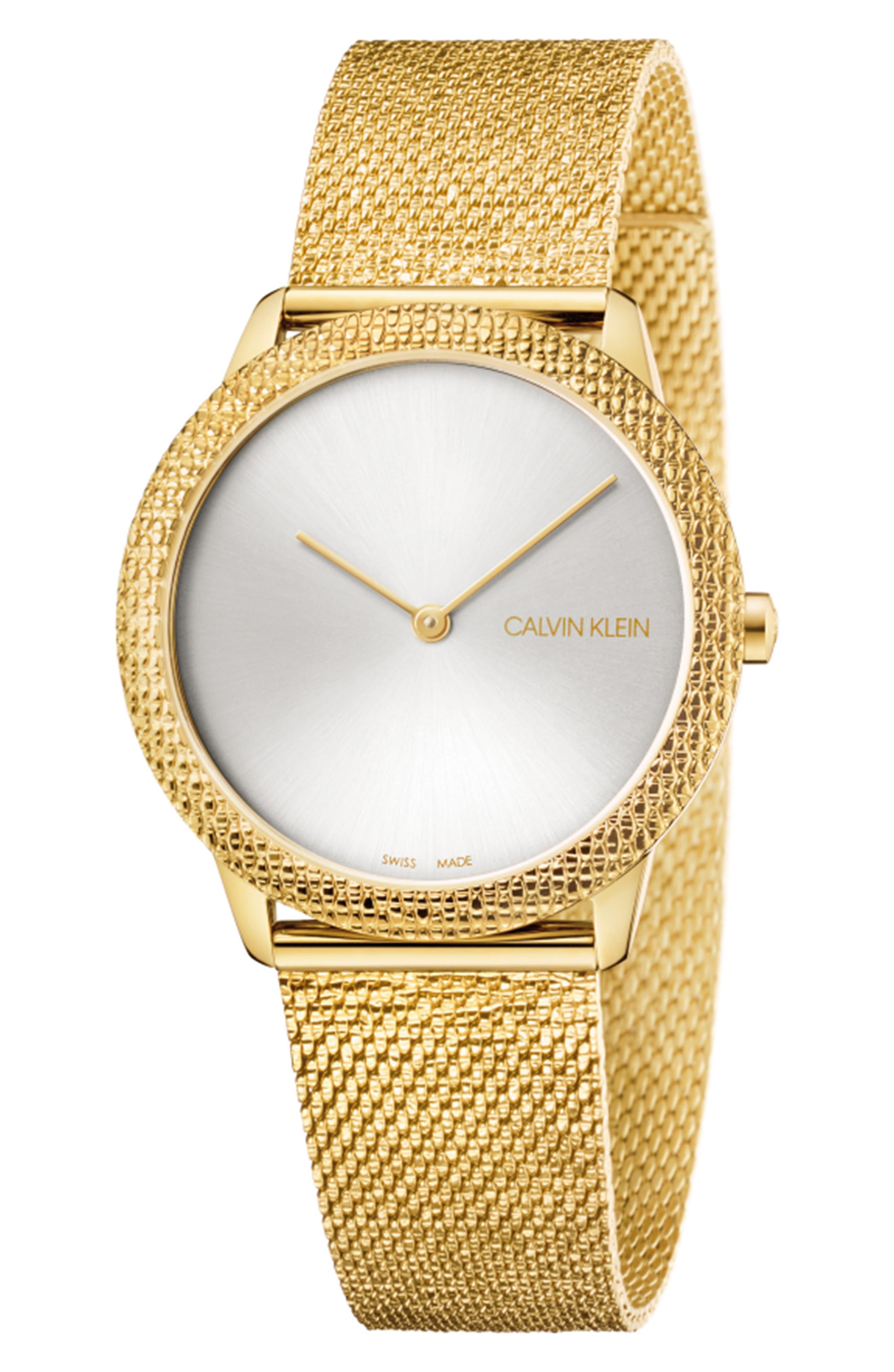 Minimal Mesh Strap Watch, 35mm,                             Main thumbnail 1, color,                             GOLD/ SILVER