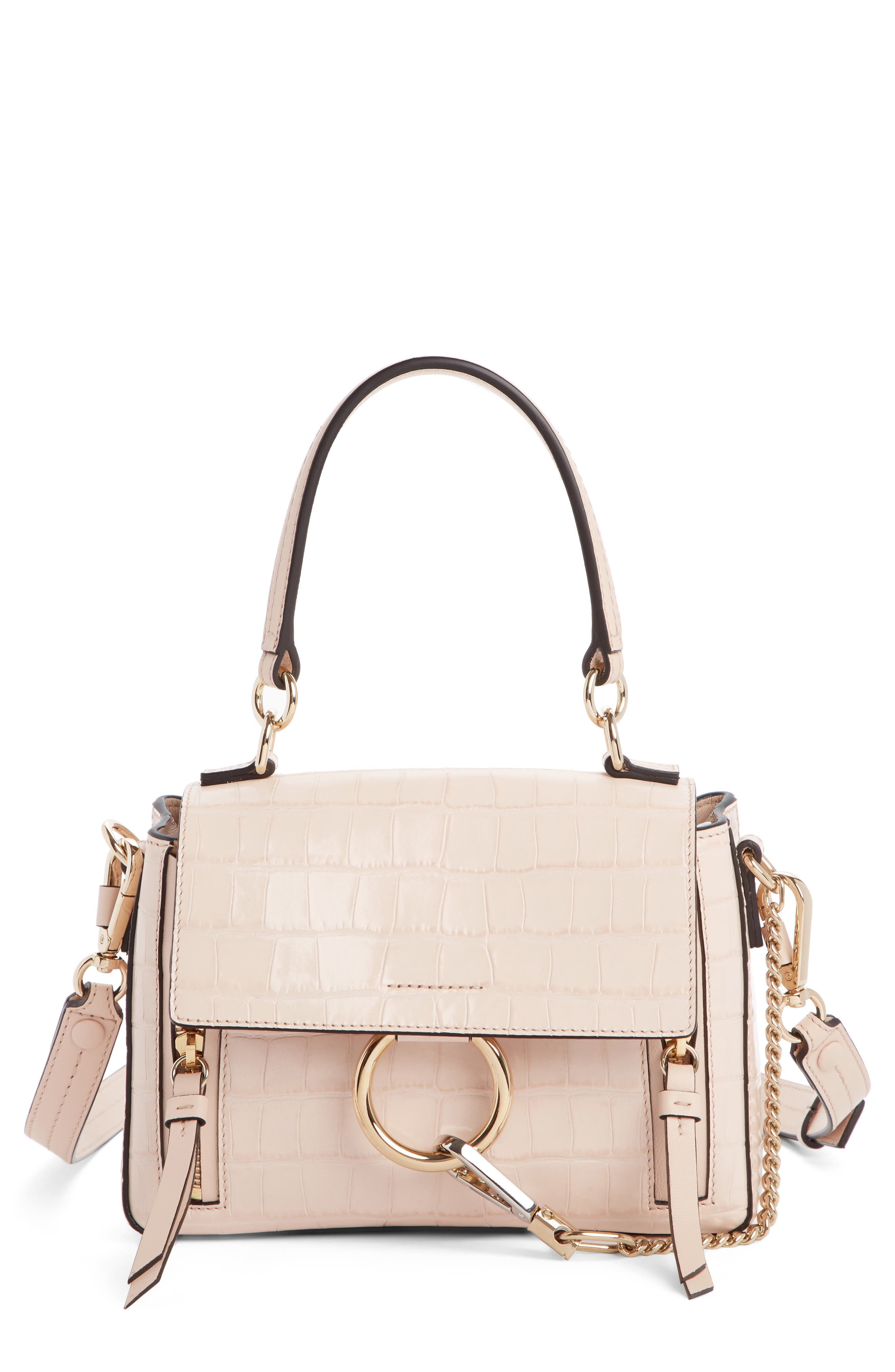 Mini Faye Day Croc Embossed Leather Satchel, Main, color, CEMENT PINK