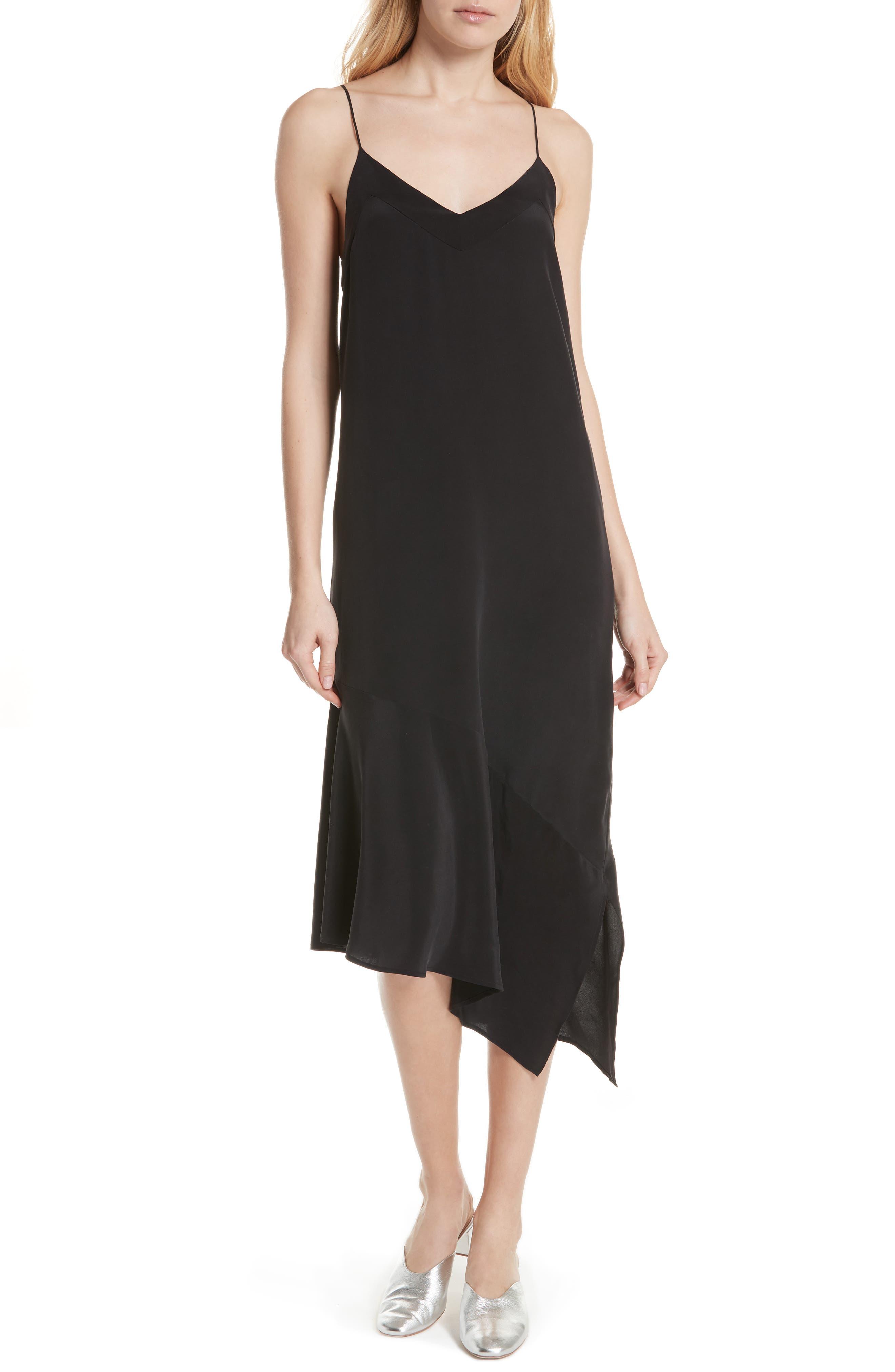 Jada Asymmetrical Silk Slip Dress,                             Main thumbnail 1, color,                             003