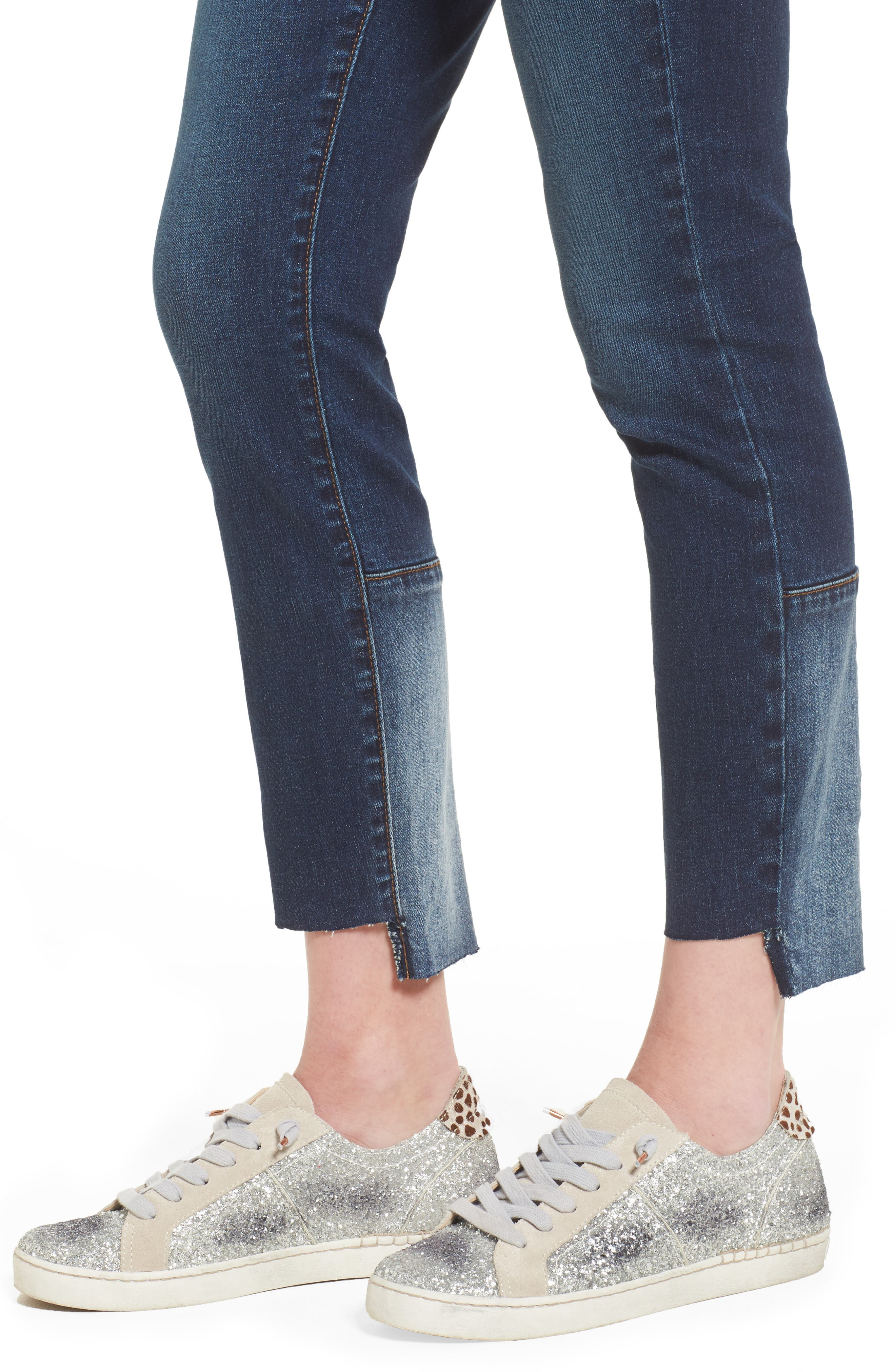 Patch Detail Step Hem Skinny Jeans,                             Alternate thumbnail 4, color,                             420